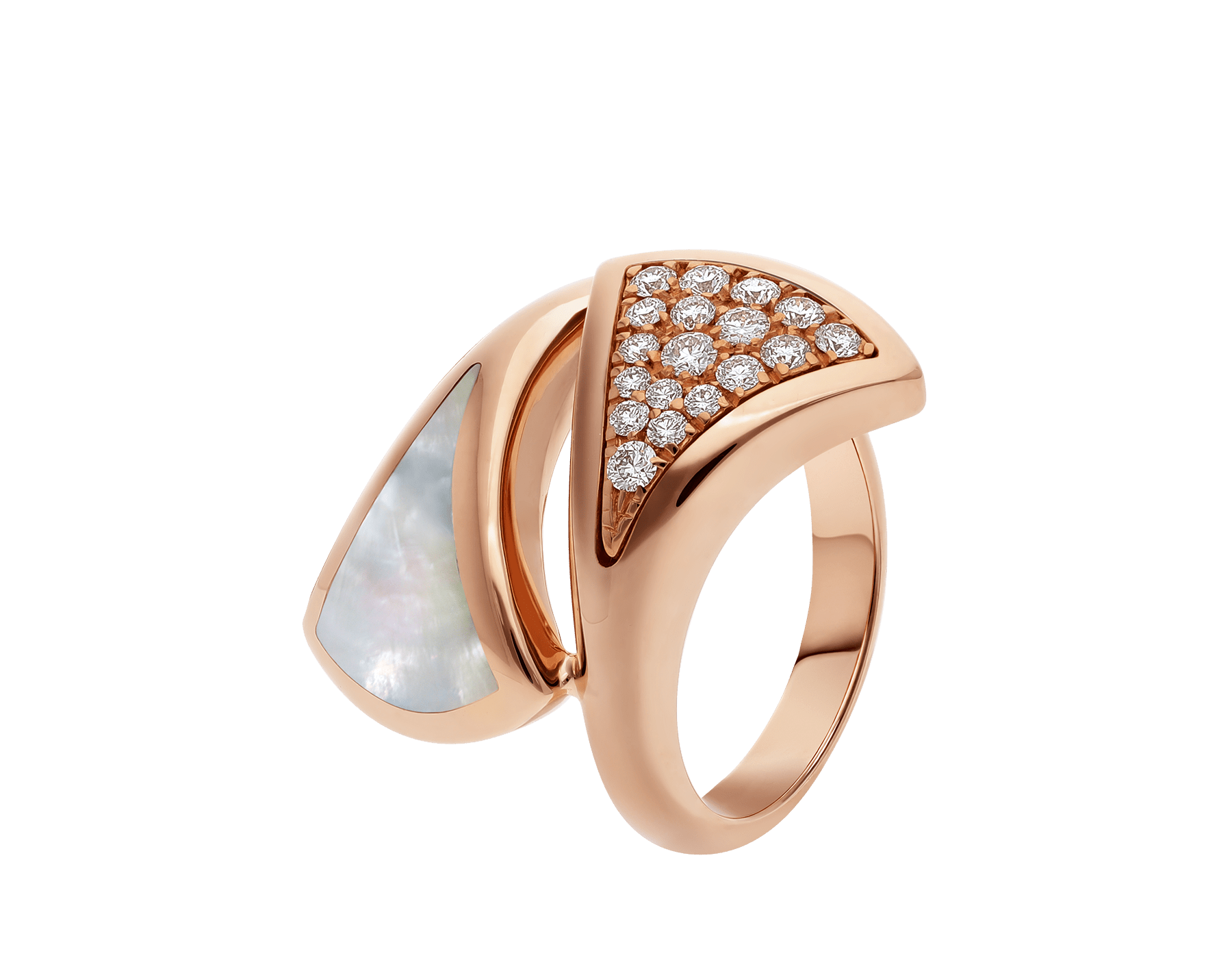 DIVAS' DREAM ring in 18 kt rose gold, set with mother-of-pearl and pavé diamonds. AN857123 image 1