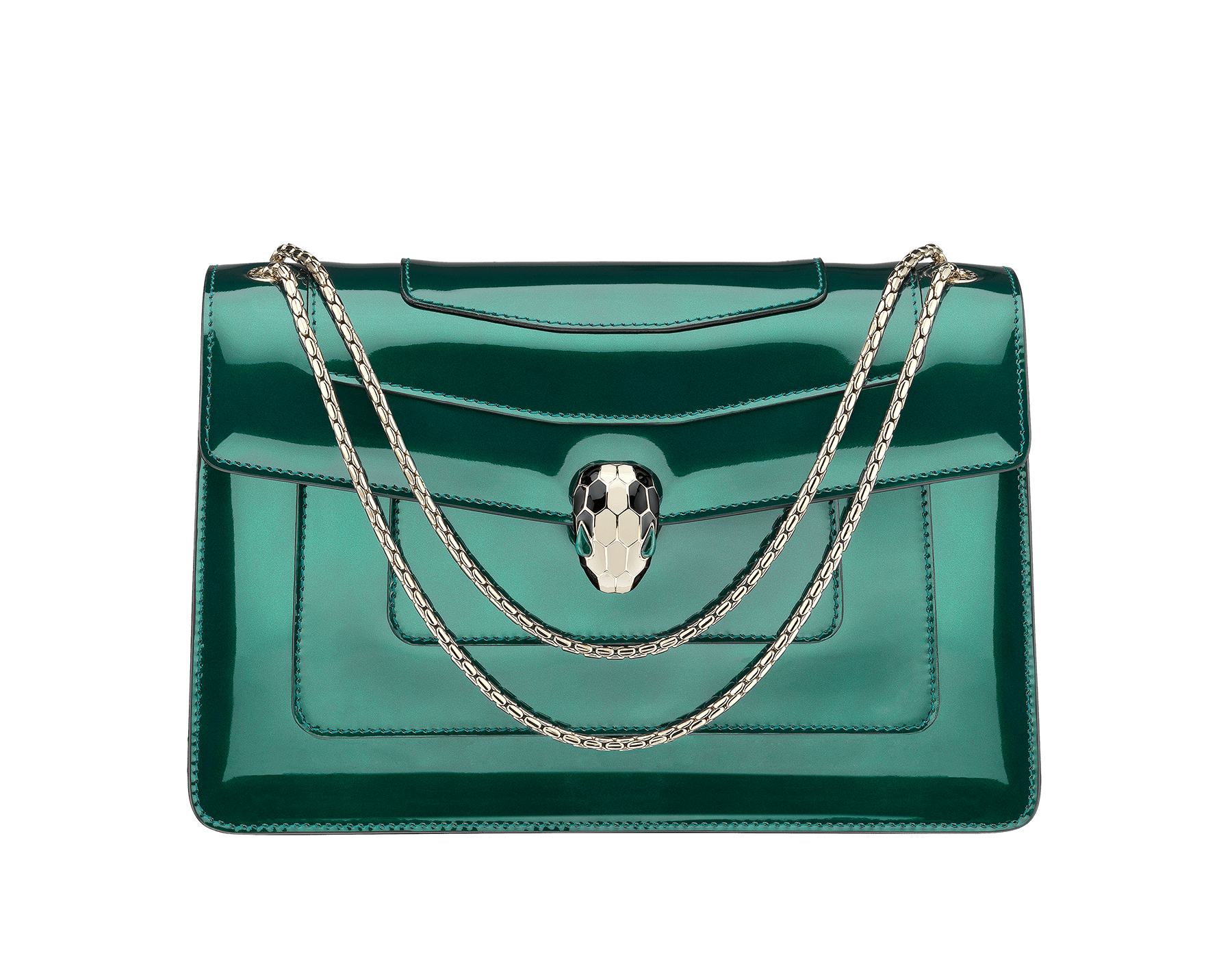 Flap cover bag Serpenti Forever in forest emerald brushed metallic calf leather. Brass light gold plated snake head closure in black and white enamel with eyes in green malachite. 283535 image 1