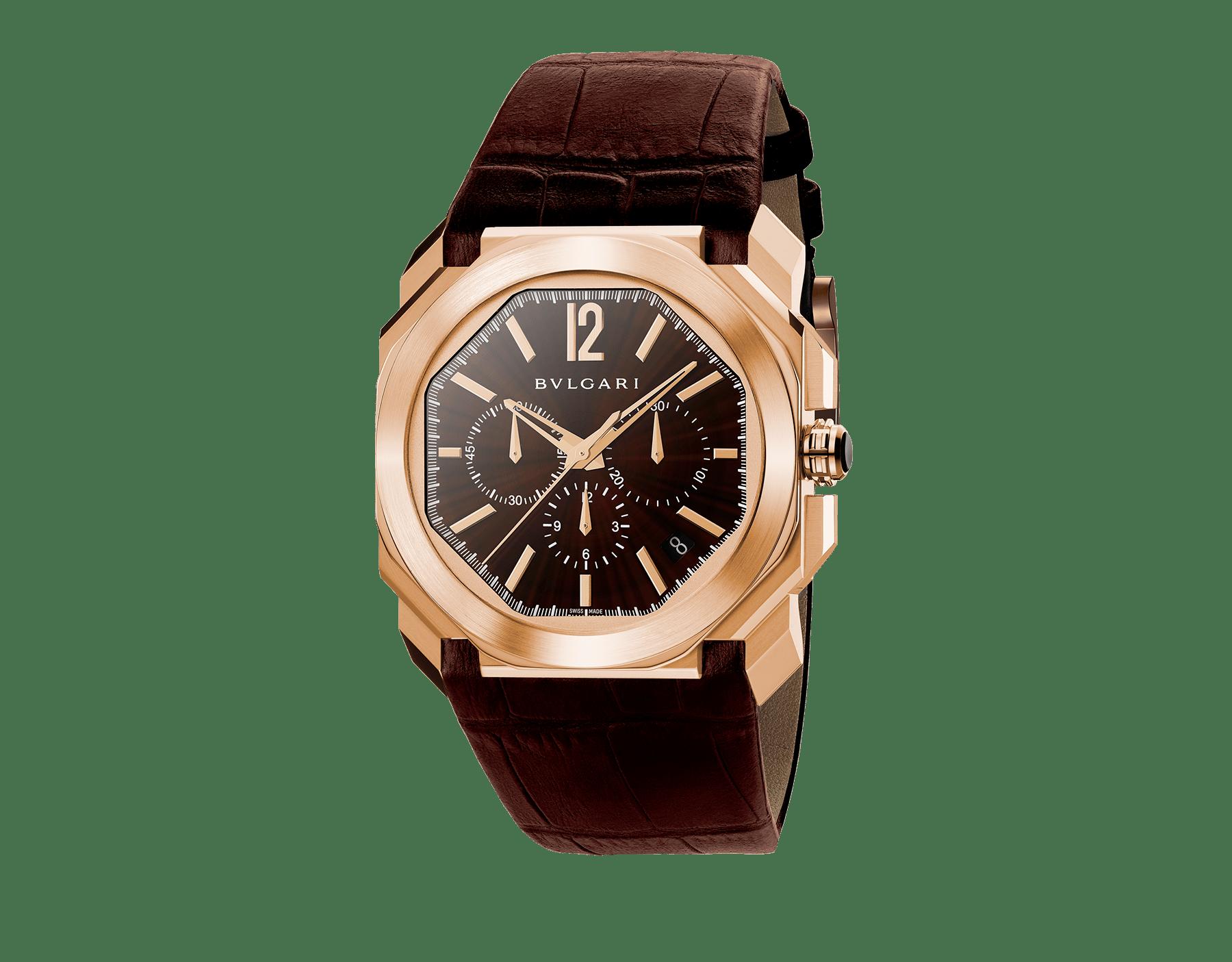 Reloj Octo con movimiento mecánico de manufactura, cronógrafo de alta frecuencia, carga automática y fecha, caja en oro rosa de 18 qt, esfera lacada en marrón y correa de piel de aligátor marrón. 102259 image 1