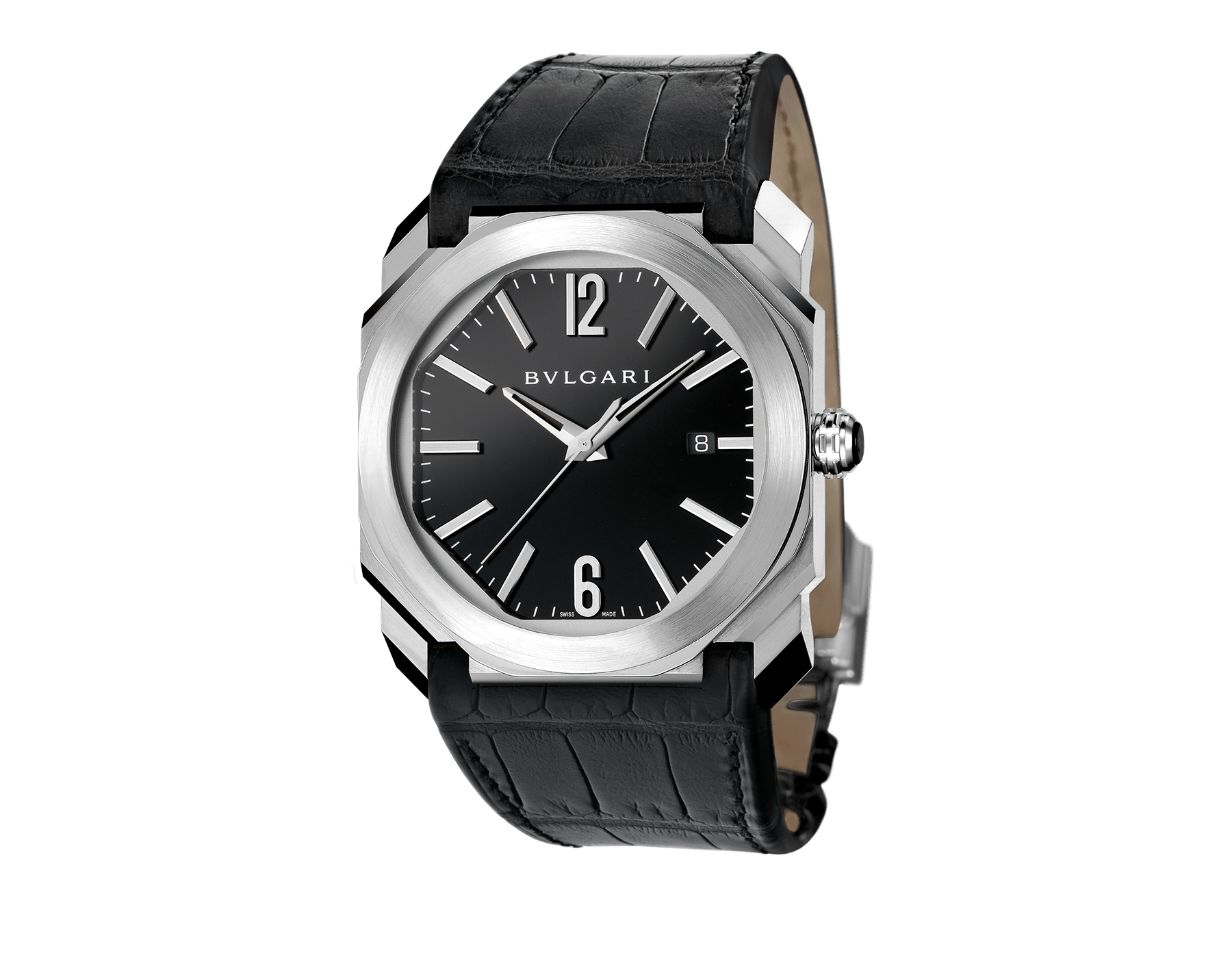 Octo watch with mechanical manufacture movement, automatic winding and date, stainless steel case, black lacquered dial and black alligator bracelet. 101964 image 1
