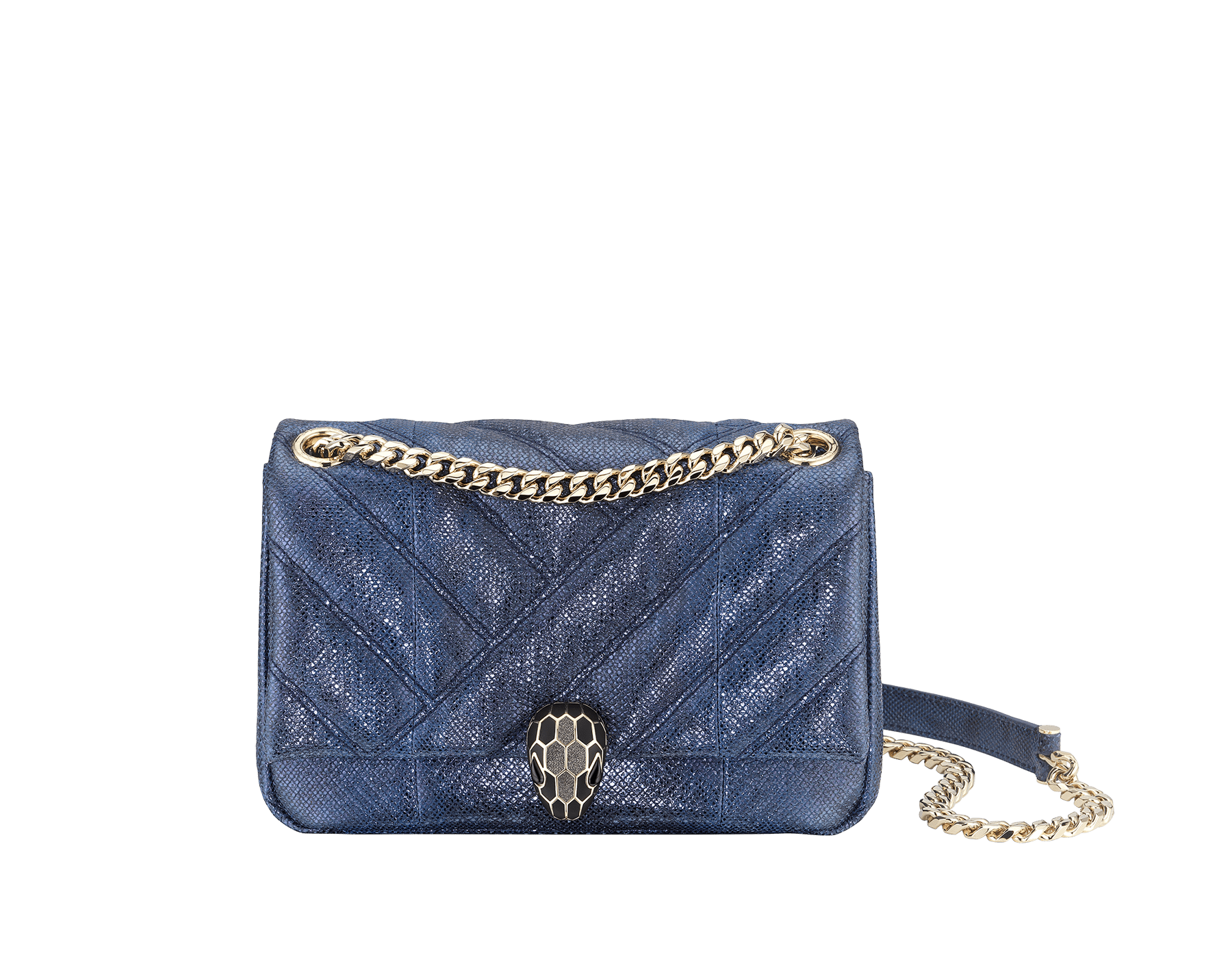 """Serpenti Cabochon"" shoulder bag in soft, quilted, metallic Midnight Sapphire blue karung skin with graphic motif and black nappa leather inner lining. Alluring snakehead closure in light gold-plated brass enriched with matte black and glittery Hawk's Eye gray enamel and black onyx eyes. 290238 image 2"
