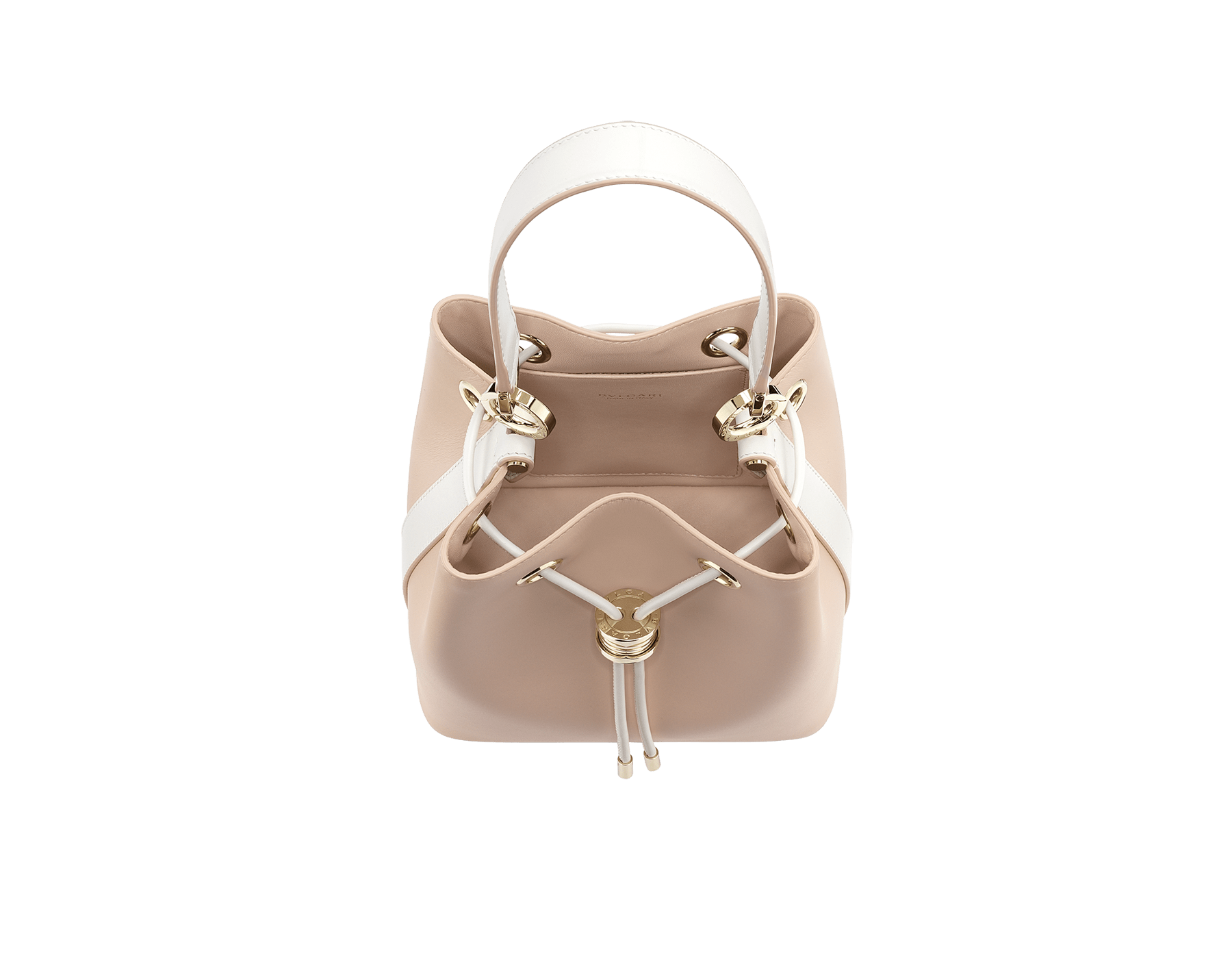 """B.zero1"" bucket bag in crystal rose smooth calf leather body and white agate smooth calf leather sides and crystal rose nappa leather lining. Hardware in light gold plated brass, featuring a B.zero1 décor. 989-BCL image 2"