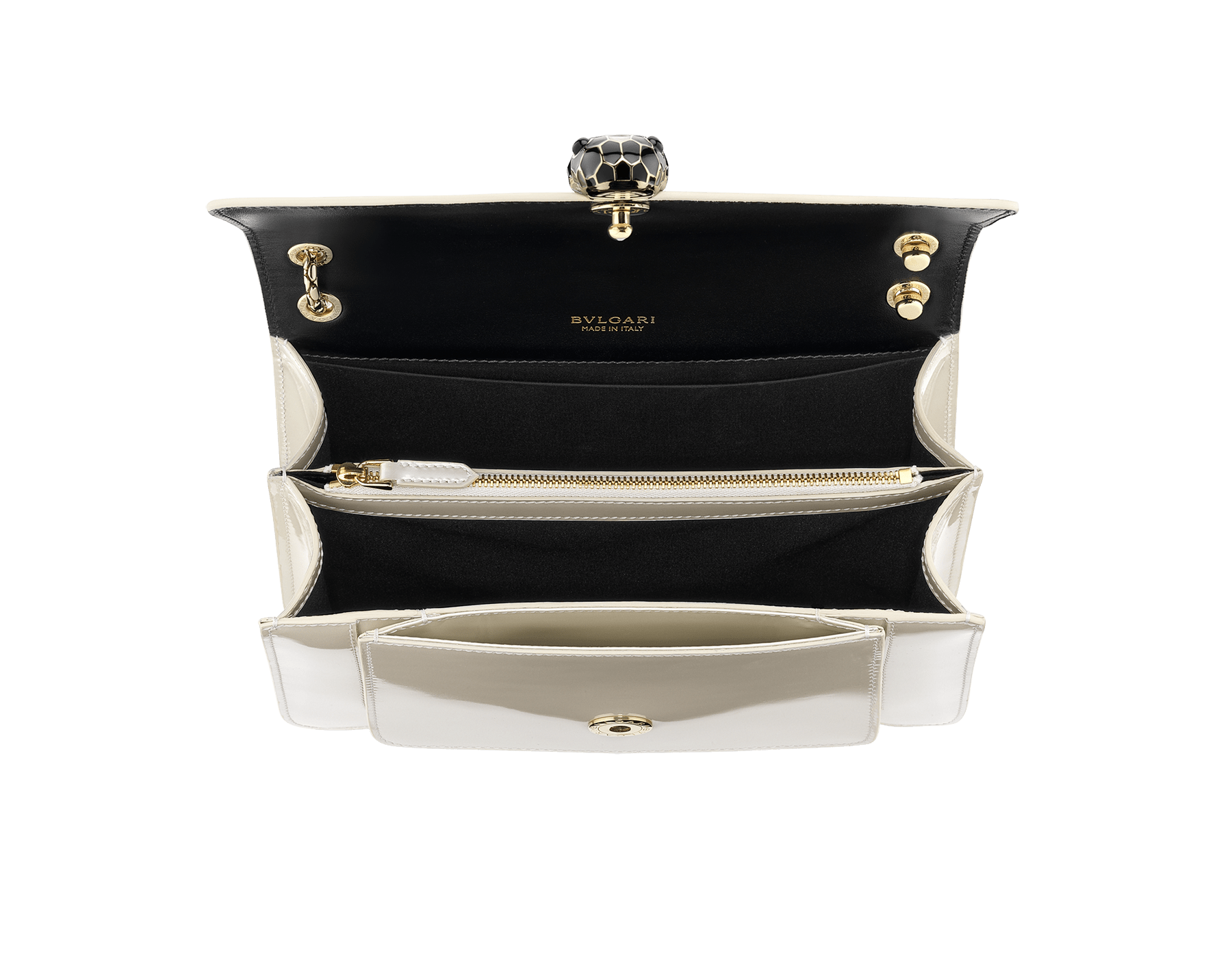 """Serpenti Forever"" crossbody bag in white agate calf leather with a varnished and pearled effect. Iconic snakehead closure in light gold plated brass enriched with black and pearled white agate enamel and black onyx eyes. 290273 image 4"