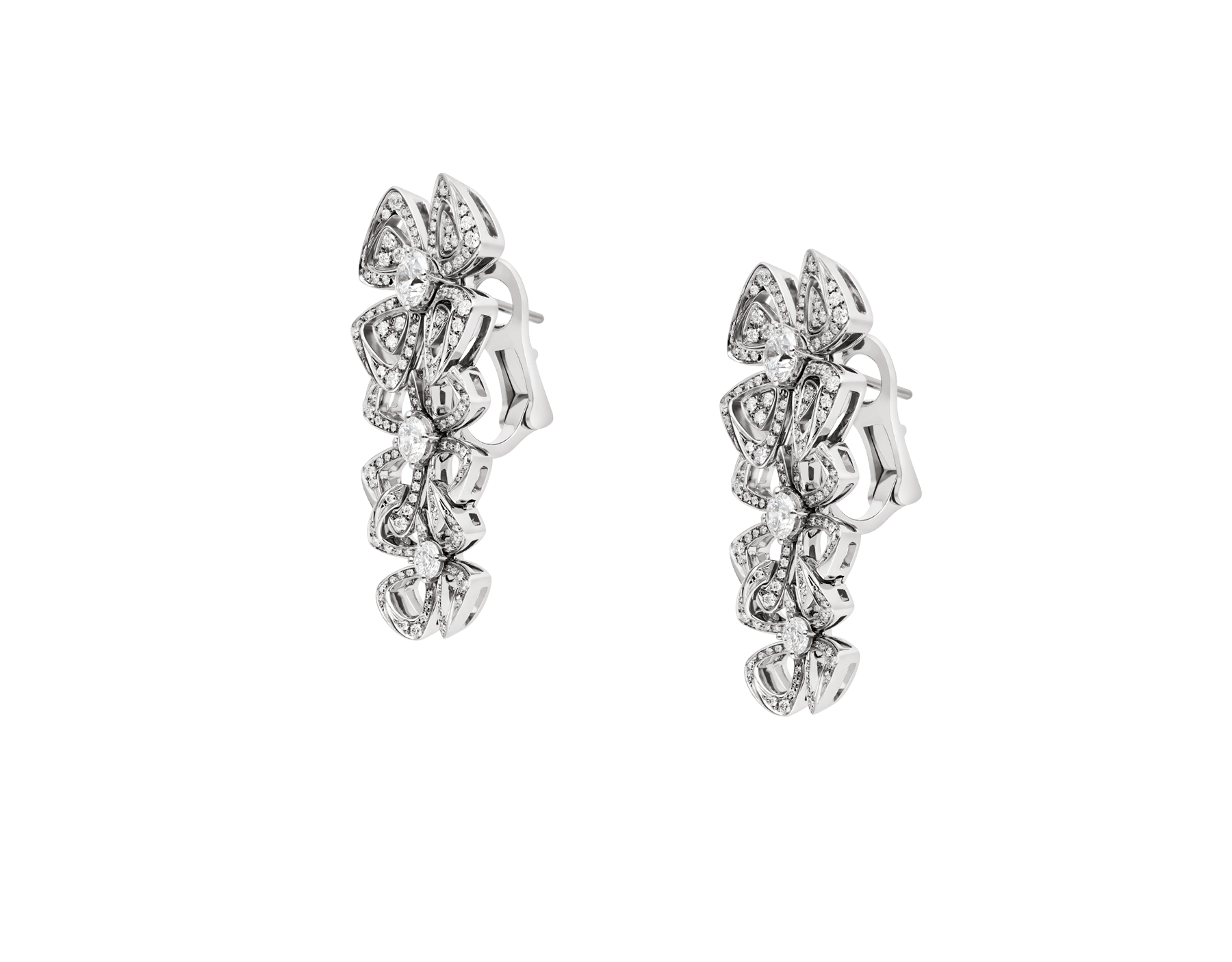Fiorever 18 kt white gold pendant earring, set with 6 round brilliant-cut diamonds and pavé diamonds. 356911 image 2