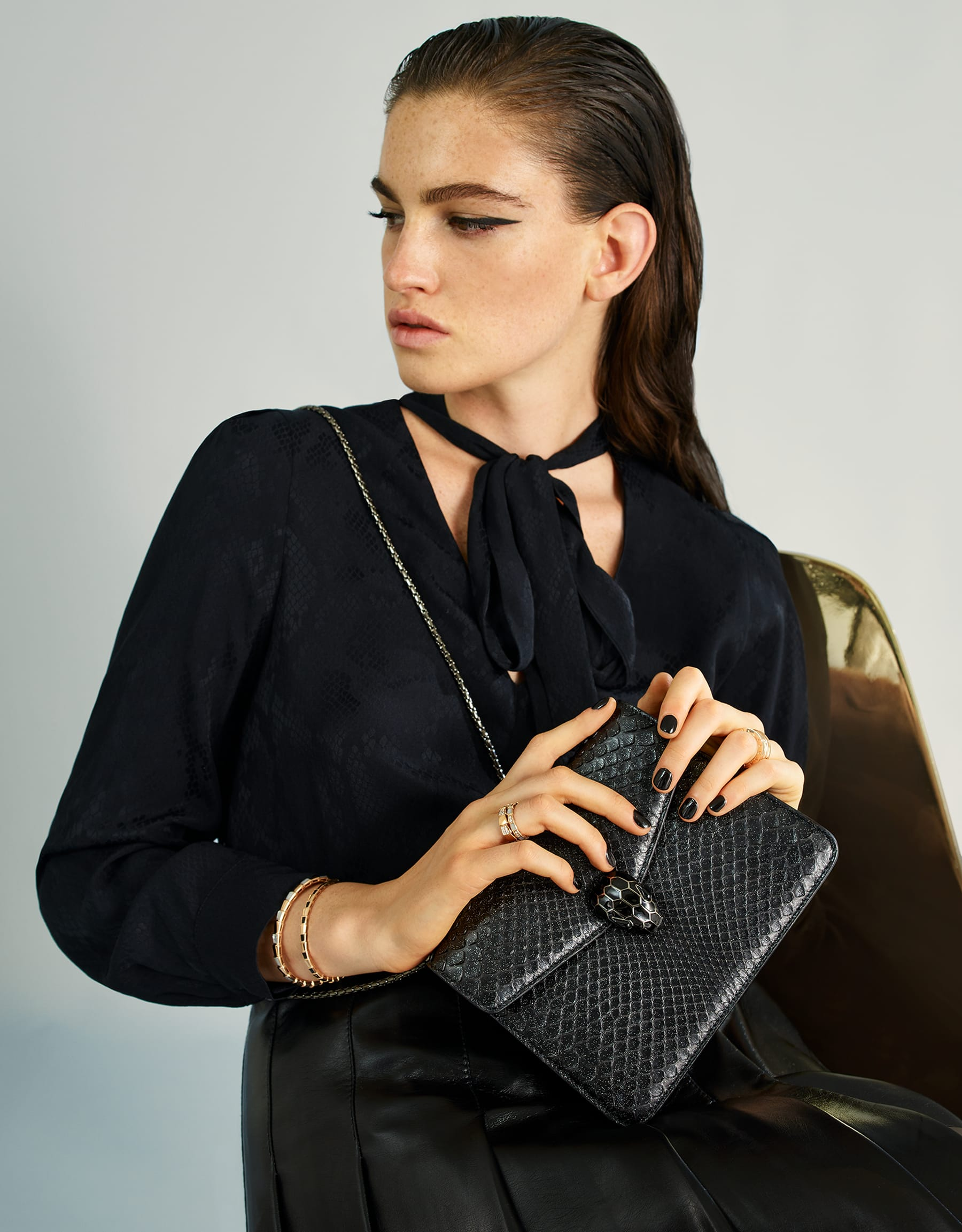 """""""Serpenti Forever"""" crossbody bag in black Diamond Glam python skin. Iconic snake head closure in dark ruthenium plated brass enriched with black enamel and black onyx eyes. 288869 image 5"""