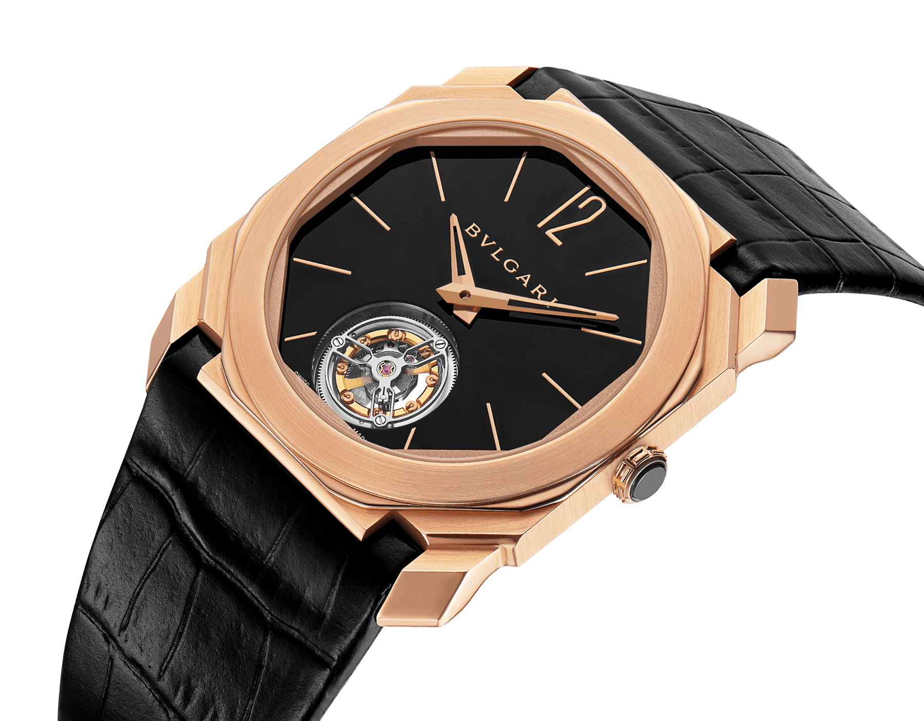 Octo Finissimo Tourbillon watch with extra thin mechanical manufacture movement, manual winding and ball-bearing system, 18 kt rose gold case, black lacquered dial with tourbillon see-through opening and black alligator bracelet. 102346 image 2