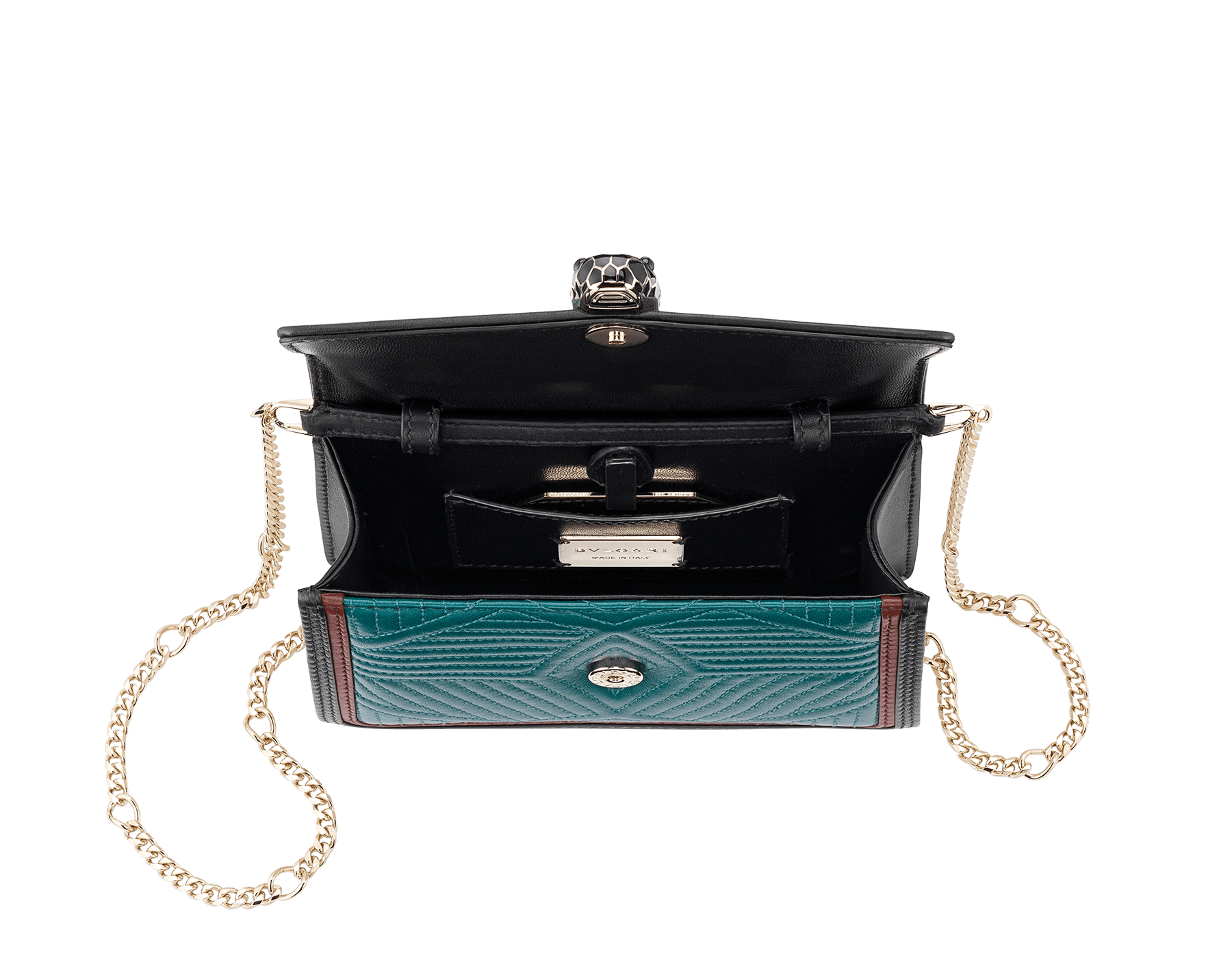 """Serpenti Diamond Blast"" crossbody micro bag in deep jade quilted nappa leather body and roman garnet and black calf leather frames. Iconic snakehead closure in light gold plated brass enriched with deep jade and black enamel and black onyx eyes. 288104 image 4"