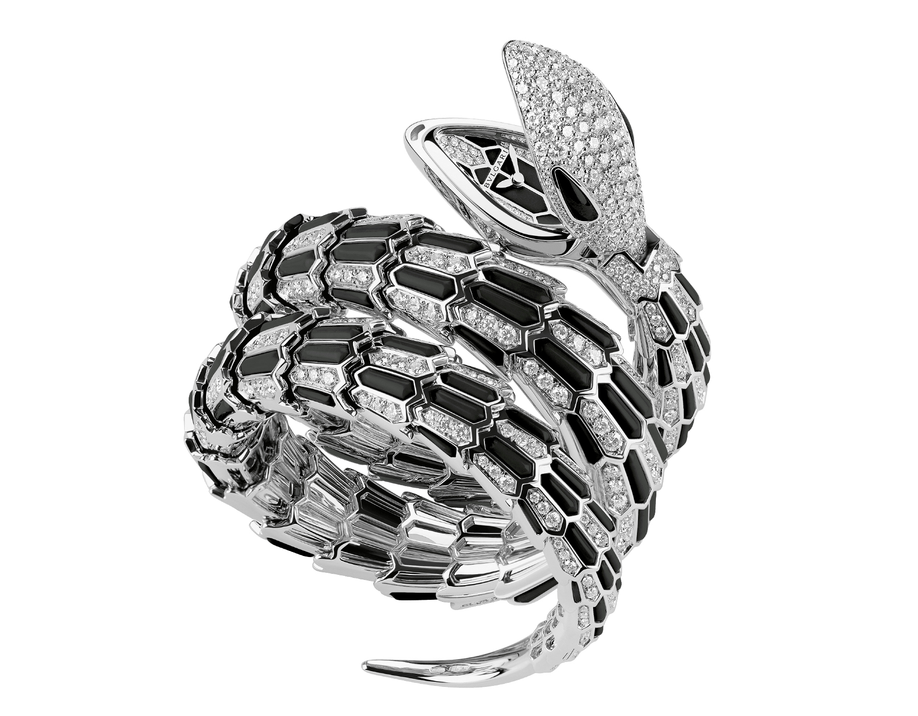 Serpenti Secret Watch with 18 kt white gold head set with brilliant cut diamonds and onyx eyes, 18 kt white gold case, 18 kt white gold dial and double spiral bracelet, both set with brilliant cut diamonds and onyx. 102144 image 1