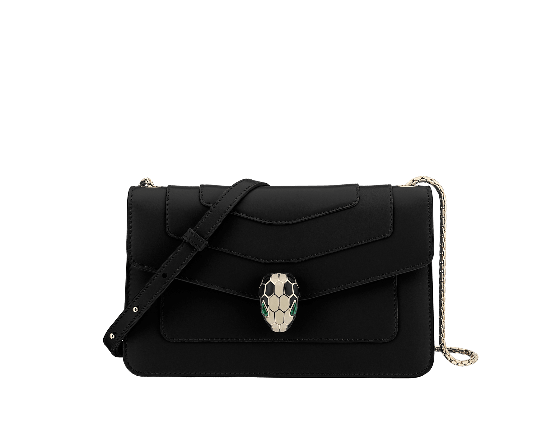 Black calf leather shoulder bag with brass light gold plated black and white enamel Serpenti head closure with malachite eyes. One open pocket and adjustable crossbody snake chain. 38102 image 1