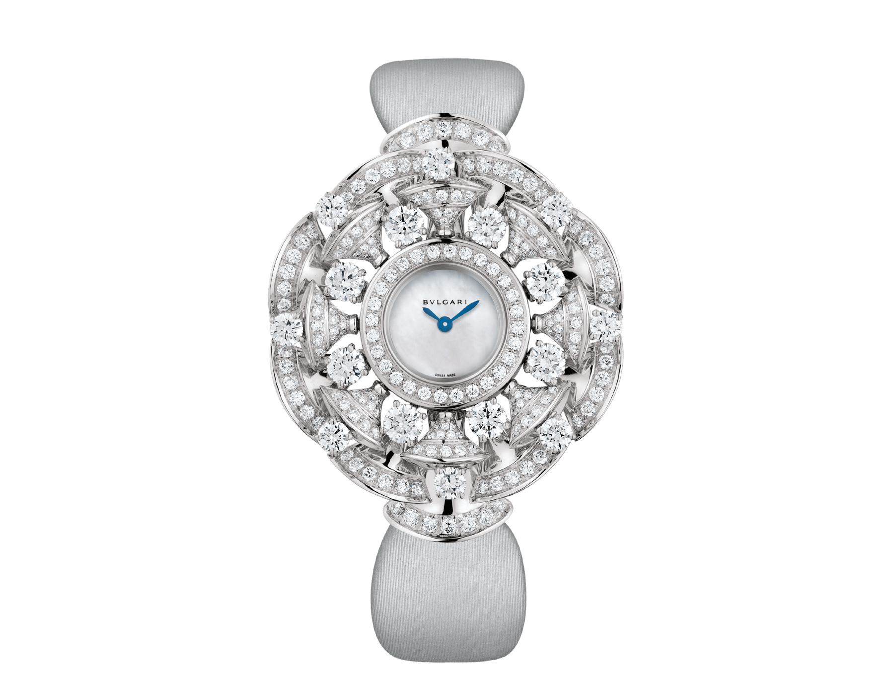 DIVAS' DREAM watch with 18 kt white gold case set with brilliant and round-cut diamonds, white mother-of-pearl dial and grey satin bracelet 102254 image 1