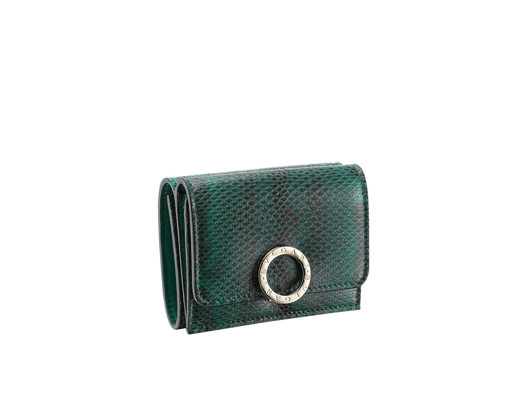 BVLGARI BVLGARI compact wallet in emerald green shiny karung skin and emerald green nappa leather. Iconic logo closure clip in light gold plated brass on the flap and press button closure on the body. 289350 image 1
