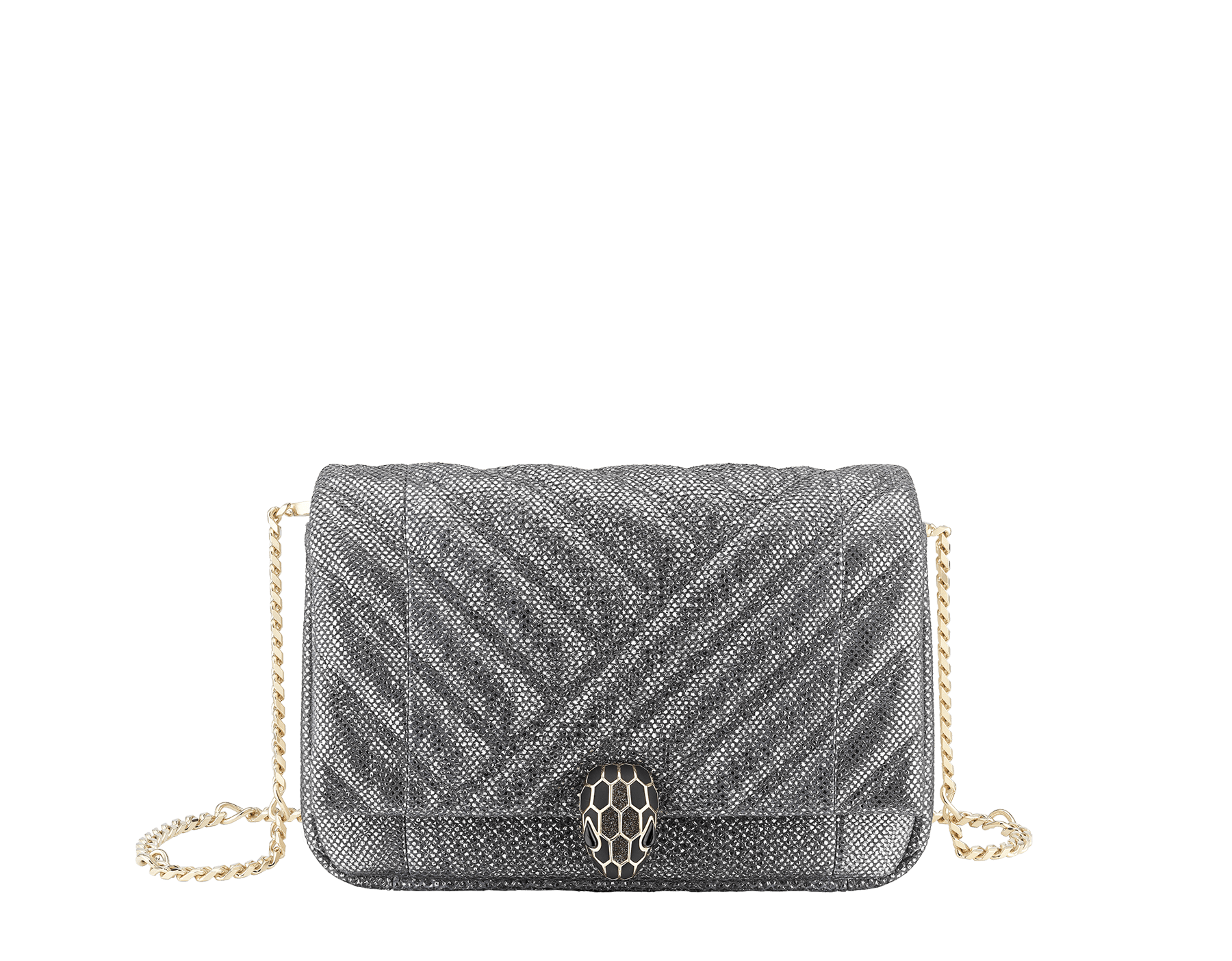 Serpenti Cabochon micro bag in soft matelassé charcoal diamond metallic karung, with a graphic motif. Tempting light gold brass-plated snake head closure in black and glitter charcoal diamond enamel and black onyx eyes. 288806 image 1