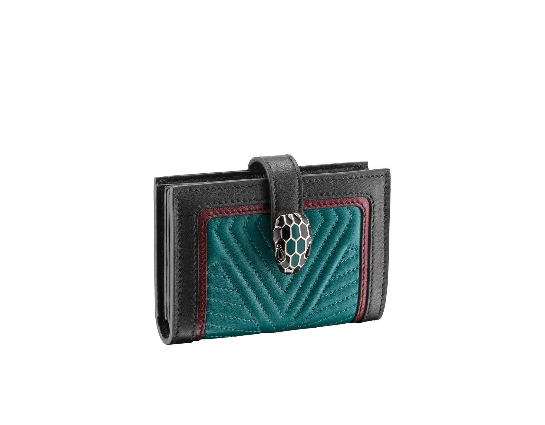 Serpenti Diamond Blast compact credit card holder in deep jade matelassè nappa leather and roman garnet and black calf leather. Iconic snakehead closure in black and deep jade enamel, with black enamel eyes. 288195 image 1
