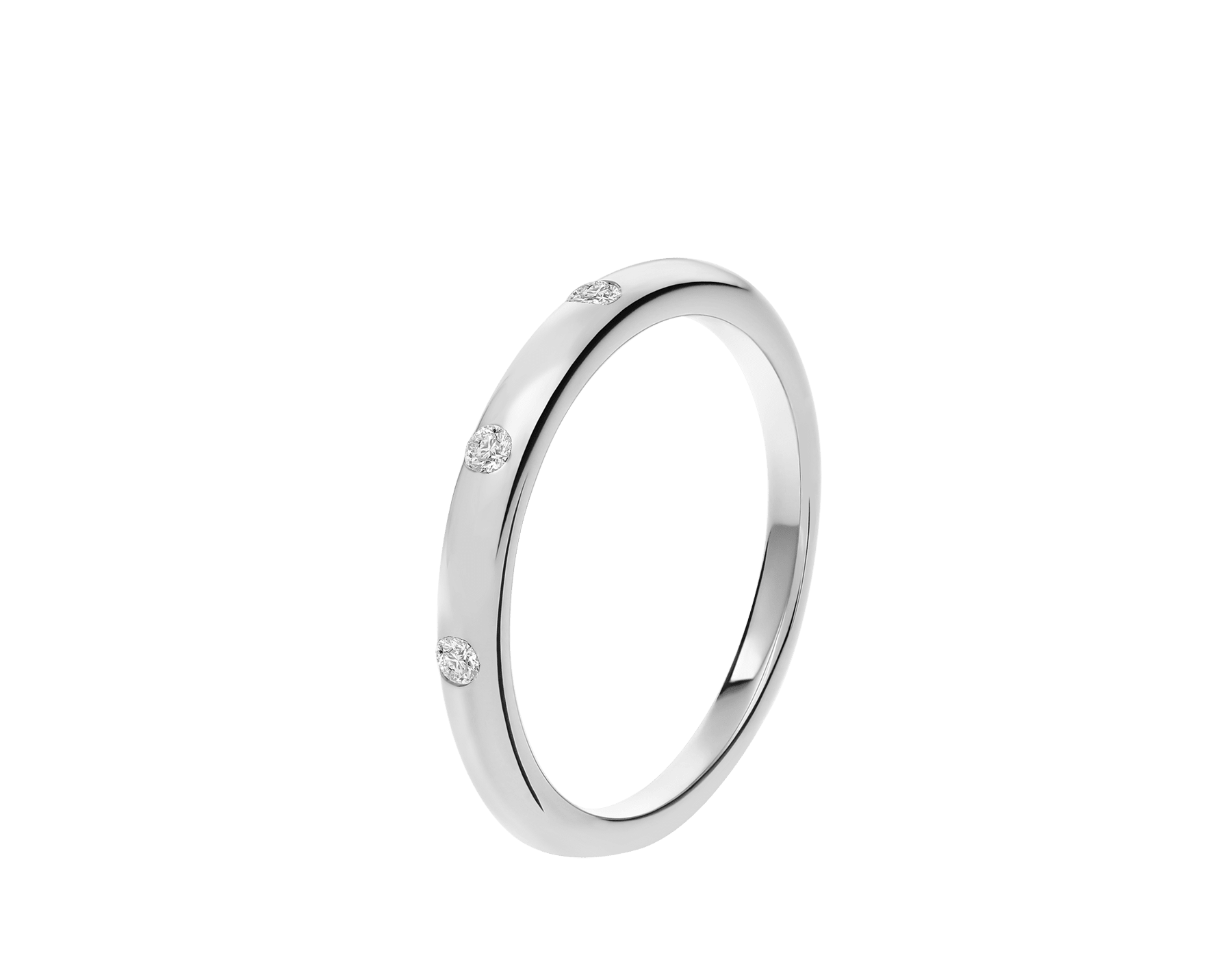 Fedi Wedding Band in platinum set with three diamonds AN857433 image 1