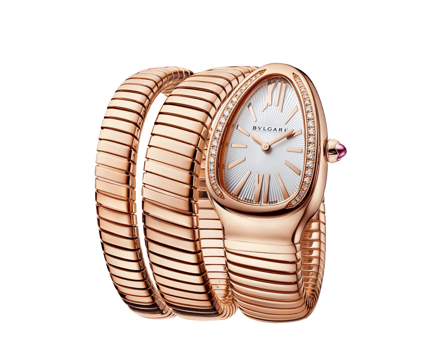 Serpenti Tubogas double spiral watch with 18 kt rose gold case set with brilliant-cut diamonds, silver opaline dial and 18 kt rose gold bracelet 103002 image 2