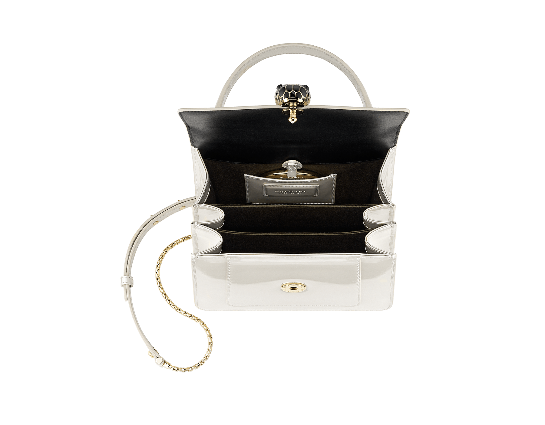 """""""Serpenti Forever """" crossbody bag in white agate leather with a varnished and pearled effect. Iconic snake head closure in light gold plated brass enriched with black and pearled white agate enamel, and black onyx eyes 752-CLd image 4"""