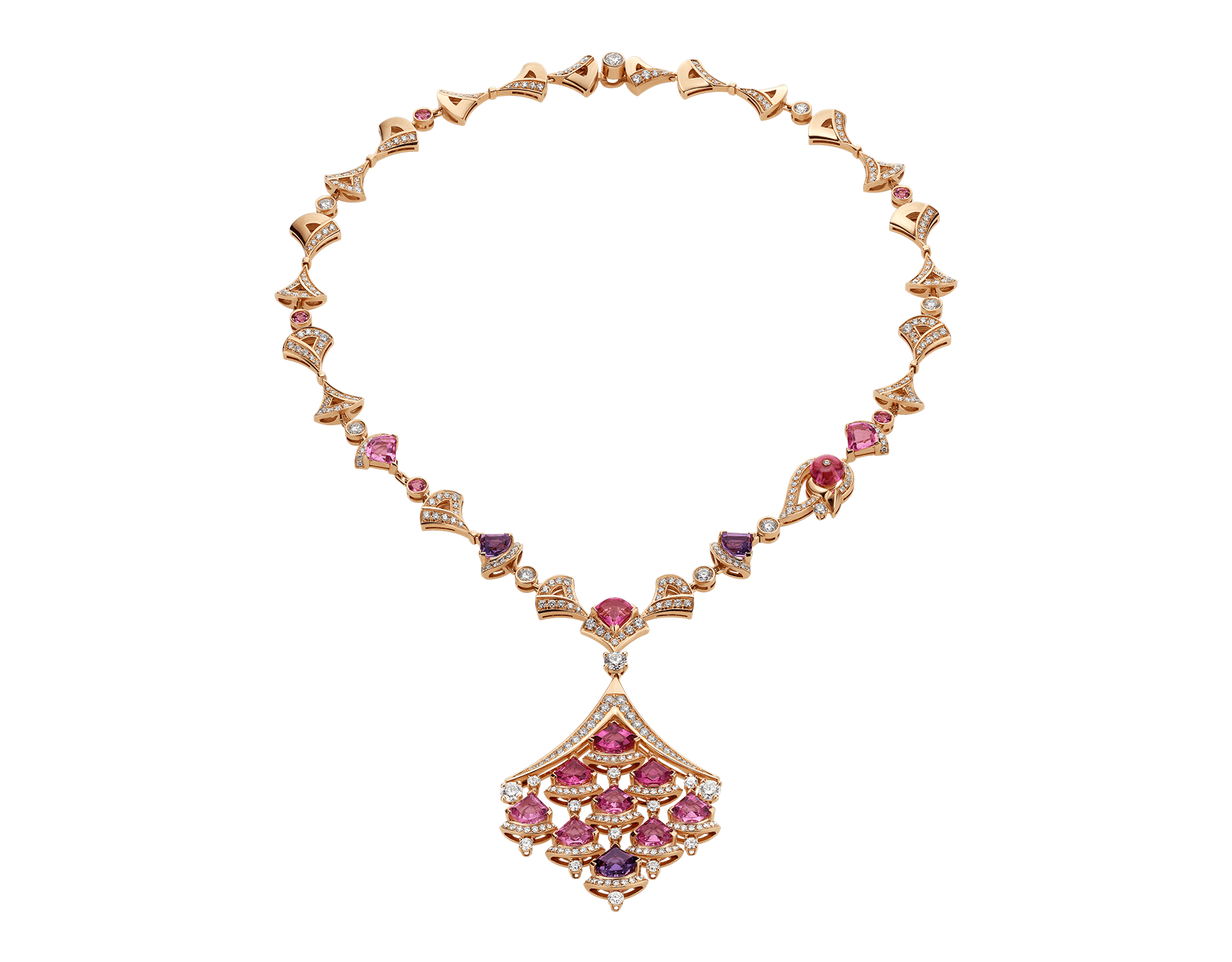 DIVAS' DREAM necklace in 18 kt rose gold set with pink rubellite (3.50 ct), pink tourmaline (8.30 ct) amethysts (2.50 ct) and pavé diamonds (6.75 ct). 354074 image 1