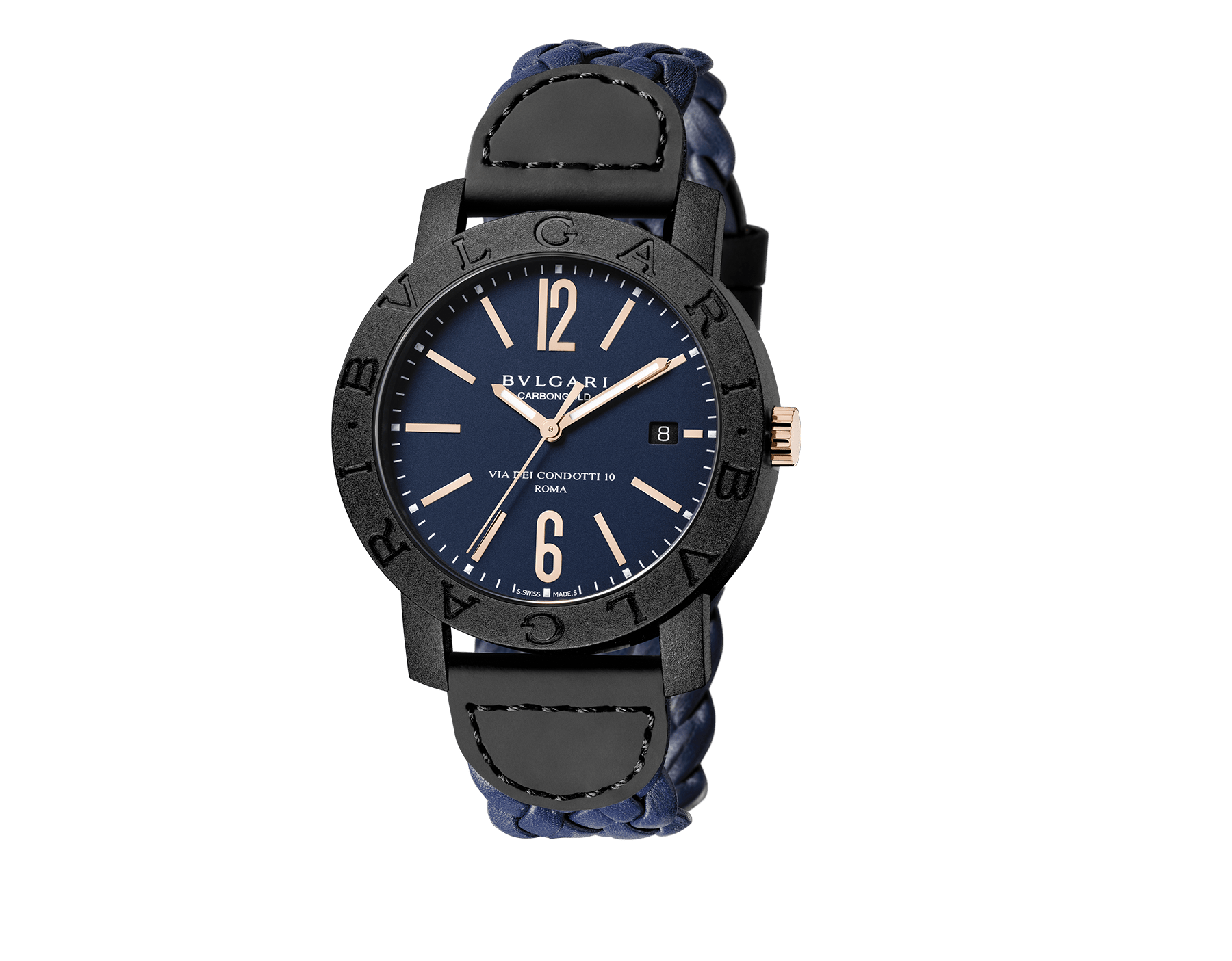 BVLGARI BVLGARI CARBON GOLD watch with mechanical movement, automatic winding and date, carbon gold case, blue dial and woven leather bracelet 102634 image 1