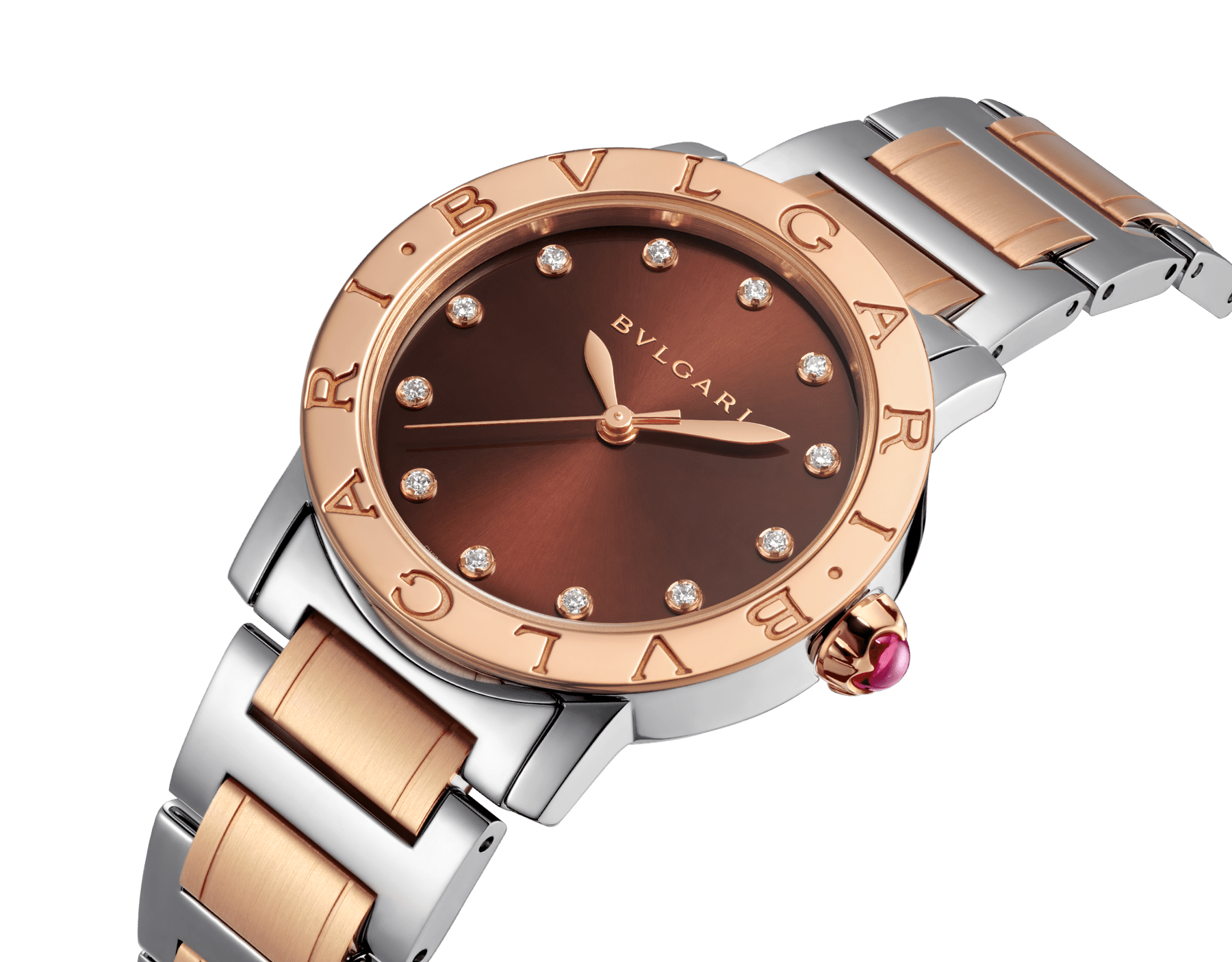 BVLGARI BVLGARI watch in stainless steel and 18 kt rose gold case and bracelet, with brown soleil lacquered dial and diamond indexes. Medium model 102157 image 2