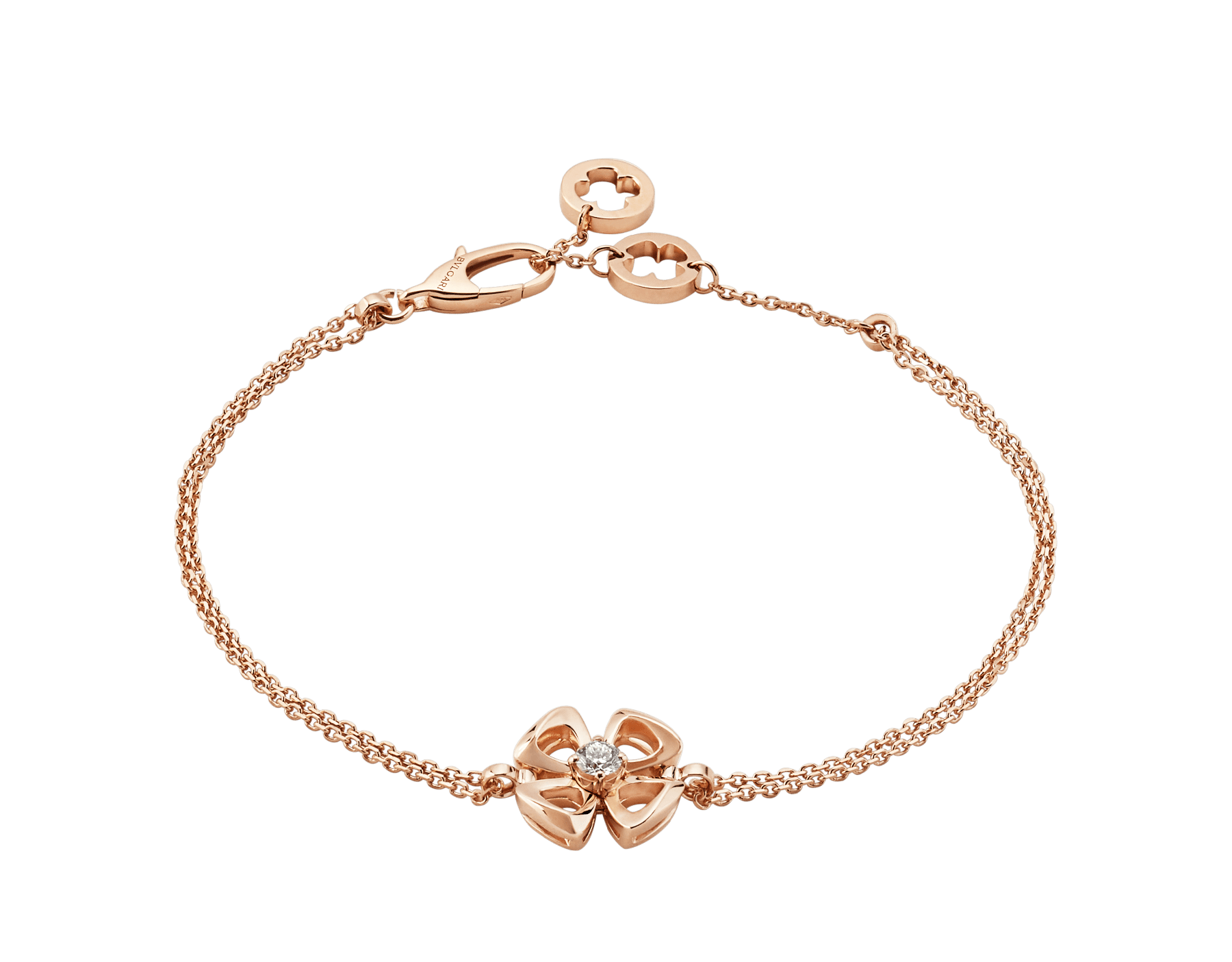 Fiorever 18 kt rose gold bracelet set with a central diamond (0.10 ct) BR858441 image 1