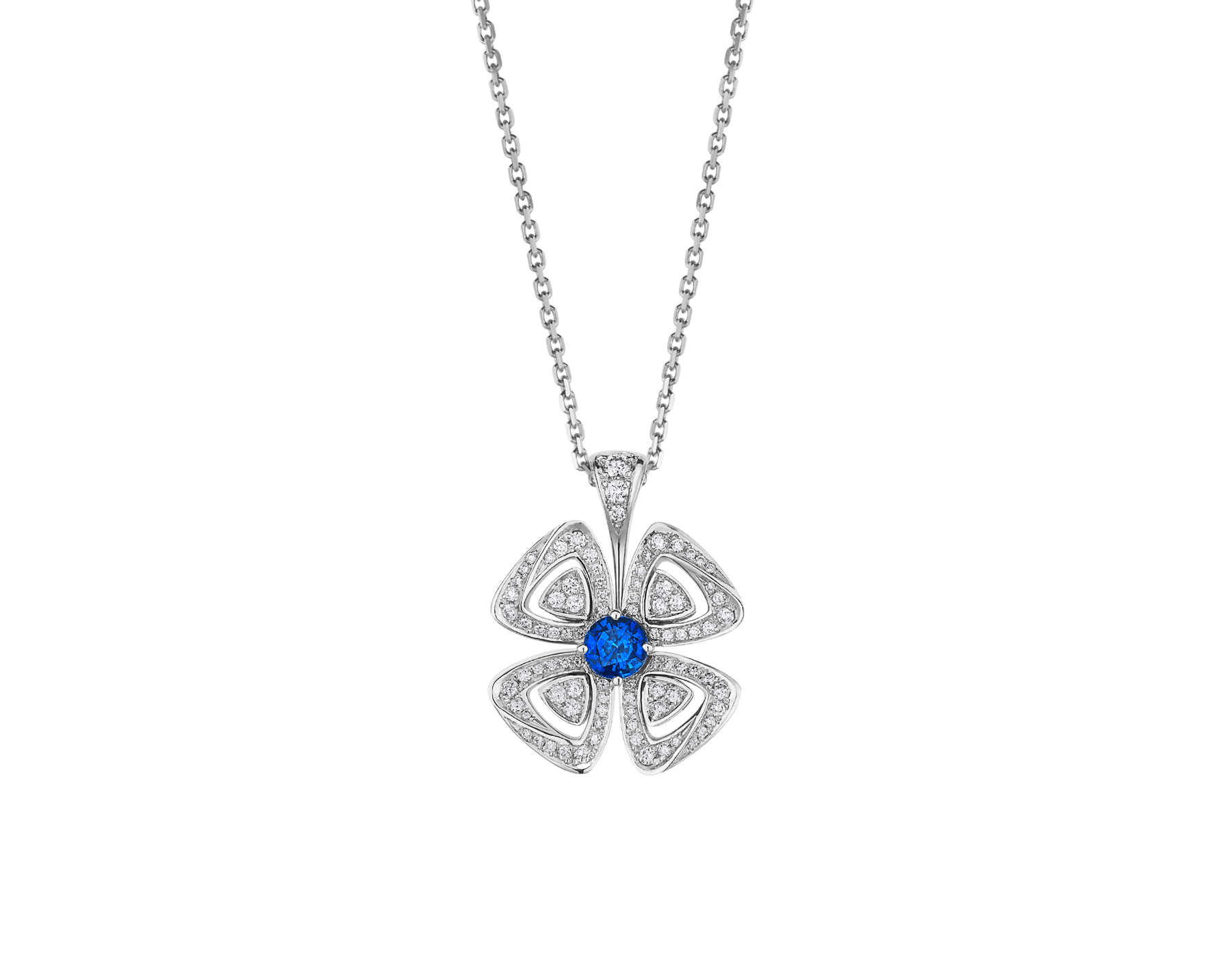 Fiorever 18 kt white gold pendant necklace set with a central brilliant-cut sapphire (0.43 ct) and pavé diamonds (0.31 ct) 358426 image 1