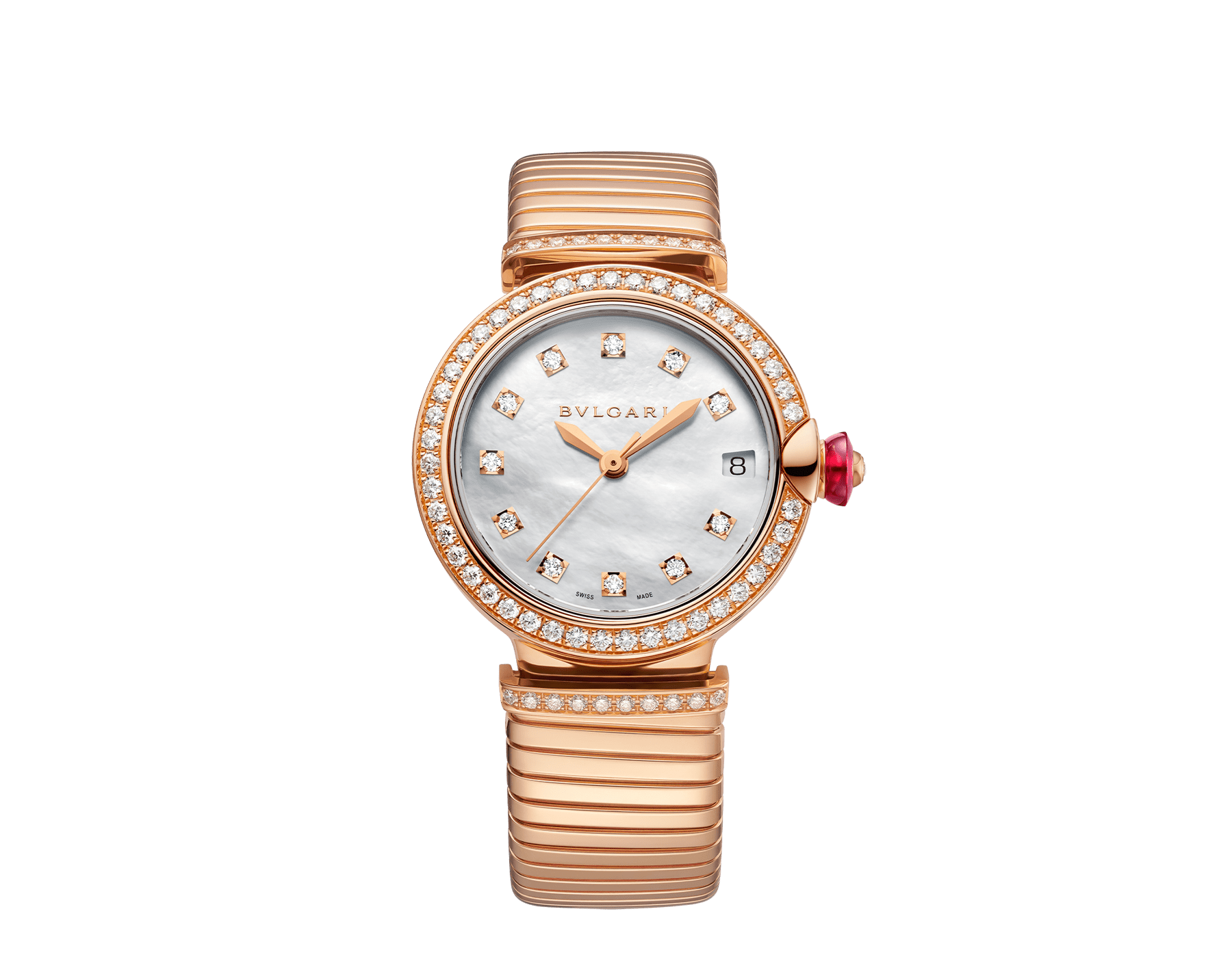 LVCEA Tubogas watch with 18 kt rose gold case set with diamonds, white mother-of-pearl dial, diamond indexes and 18 kt rose gold tubogas bracelet 103034 image 1