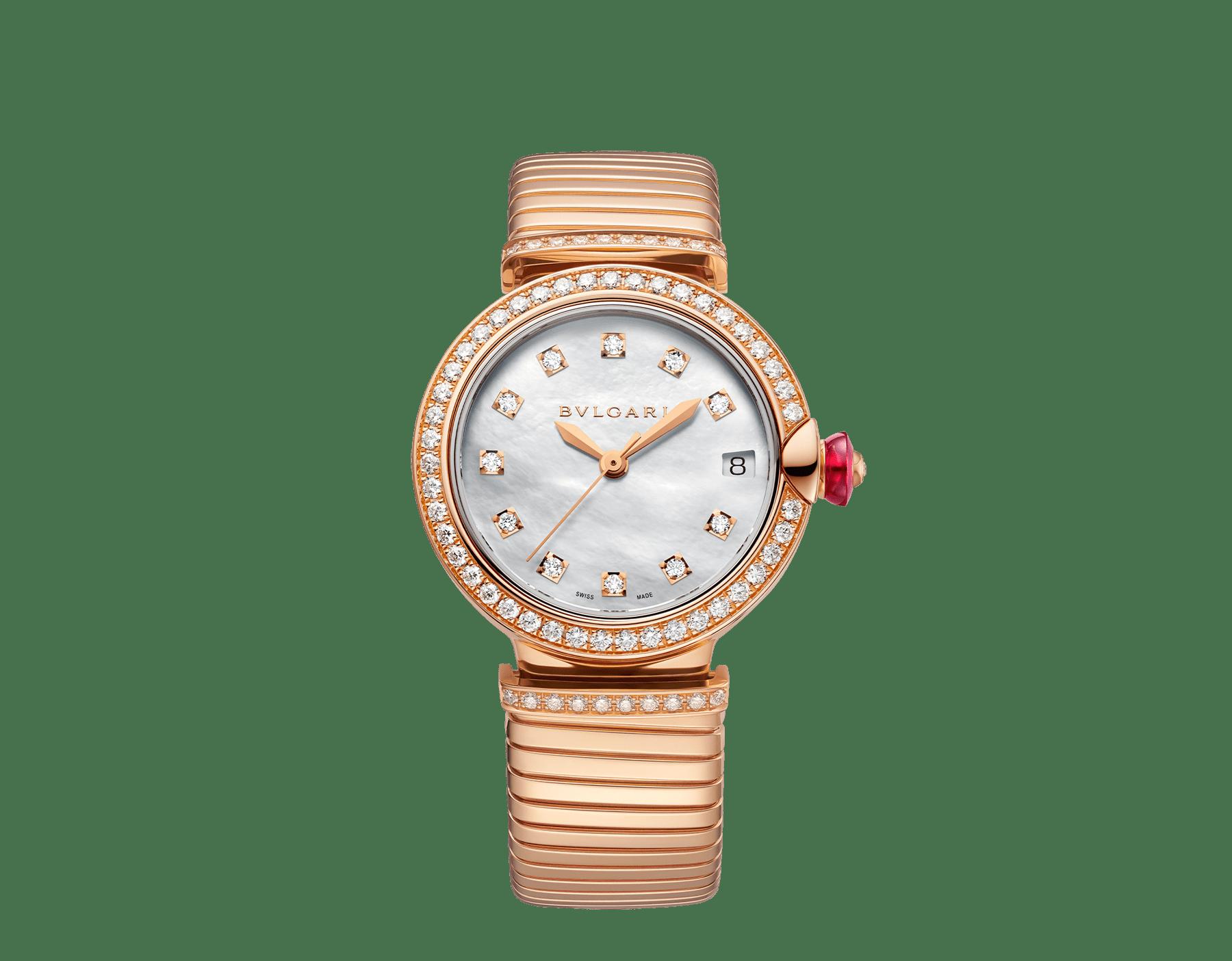 Relógio LVCEA Tubogas com caixa em ouro rosa 18K cravejada com diamantes, mostrador em madrepérola branca, índices de diamante e pulseira tubogas em ouro rosa 18K 103034 image 1