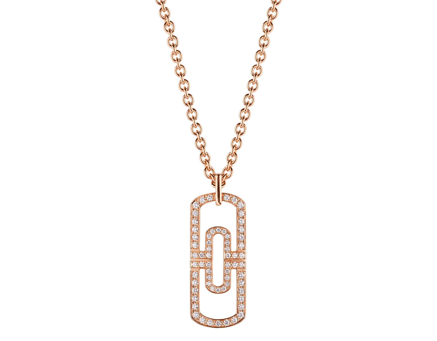 Parentesi necklace with 18 kt rose gold chain and 18 kt rose gold pendant set with full pavé diamonds 349184 image 1