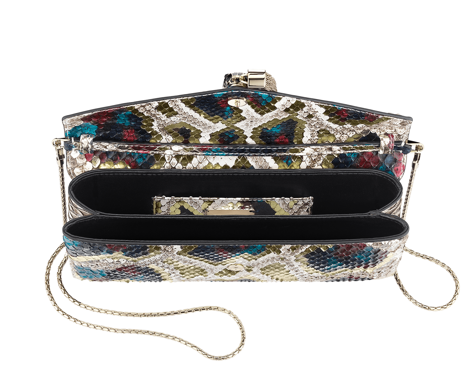 """""""Serpenti"""" evening clutch bag in white agate Lunar python skin. Iconic snakehead stud closure with tassel in light gold plated brass enriched with black and roman garnet enamel and black onyx eyes. 288485 image 4"""