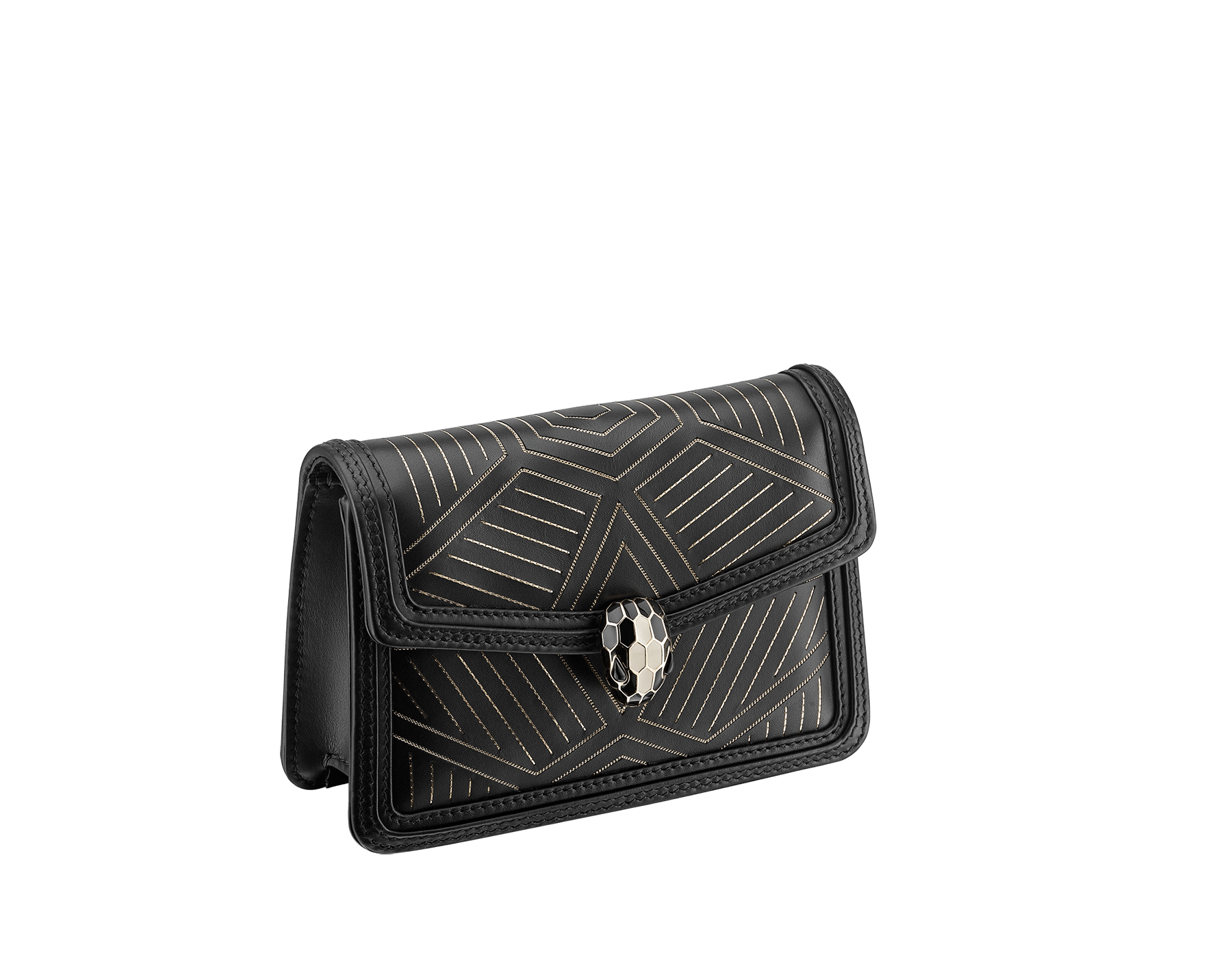 """Serpenti Diamond Blast"" shoulder bag in white agate calf leather, featuring a Whispy Chain motif in light gold finishing. Iconic snakehead closure in light gold-plated brass enriched with black and white agate enamel and black onyx eyes. 987-WC image 2"