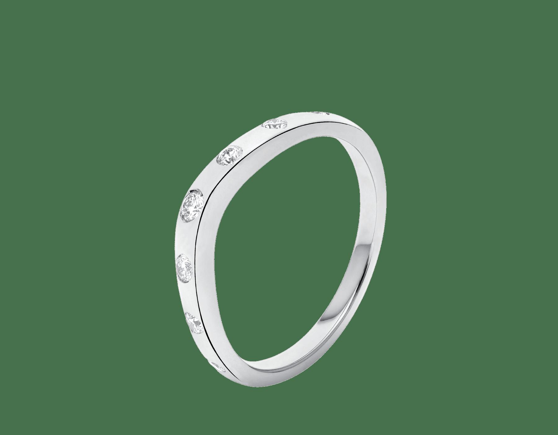 フェディ ウェディング・リング。ダイヤモンド7個を配したプラチナ製。 Corona-2 image 1