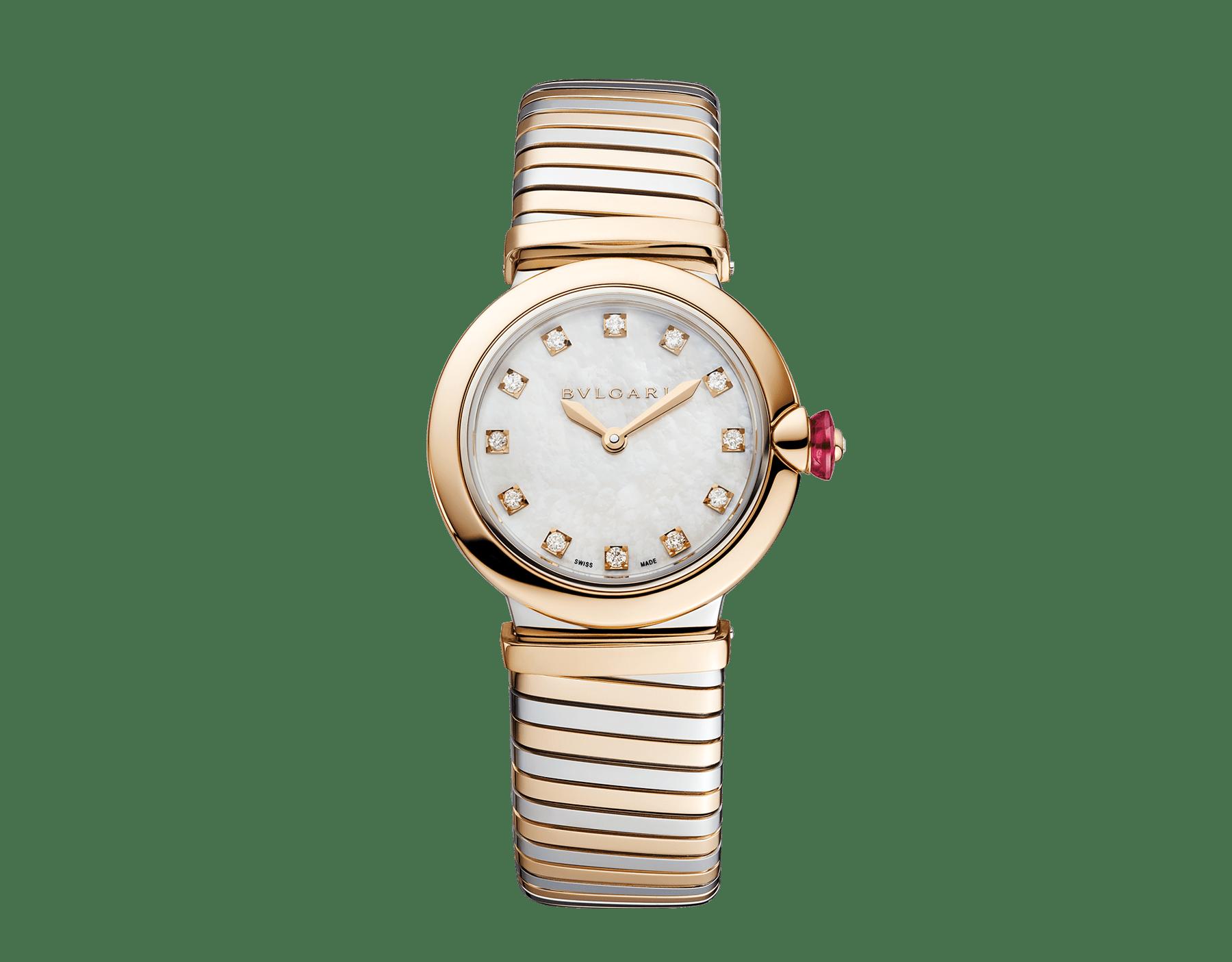 Montre LVCEA Tubogas avec boîtier et bracelet Tubogas en or rose 18K et acier inoxydable, cadran en nacre blanche et index sertis de diamants 102952 image 1