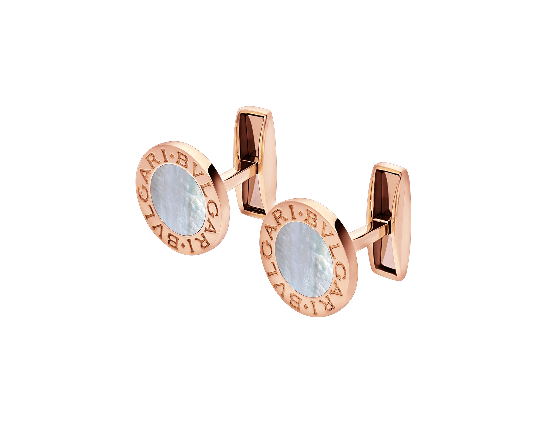 BVLGARI BVLGARI 18kt rose gold cufflinks set with mother-of-pearl elements 344428 image 2