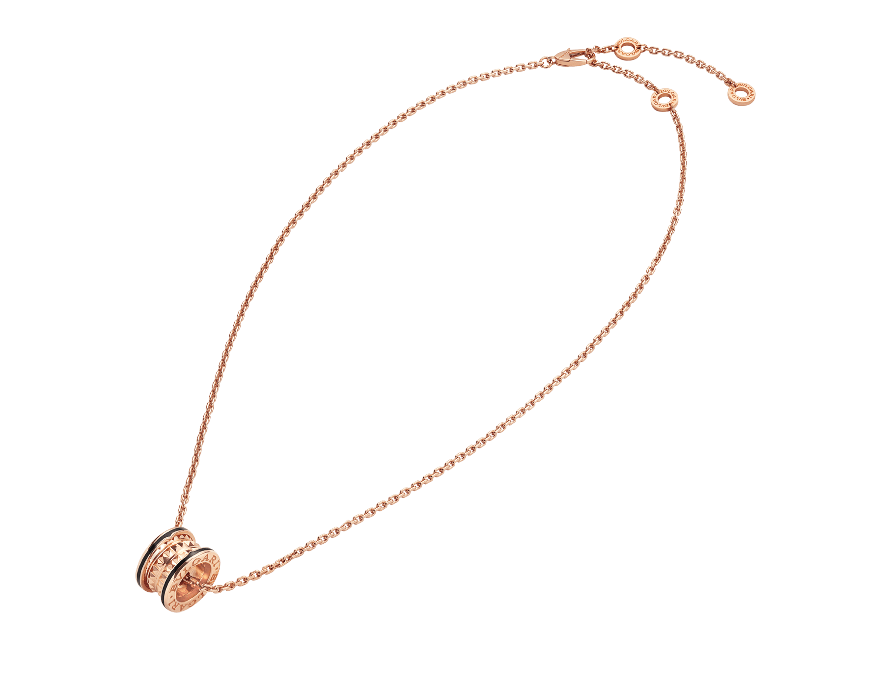 B.zero1 Rock necklace with 18 kt rose gold pendant with studded spiral, black ceramic inserts on the edges and 18 kt rose gold chain 358054 image 2