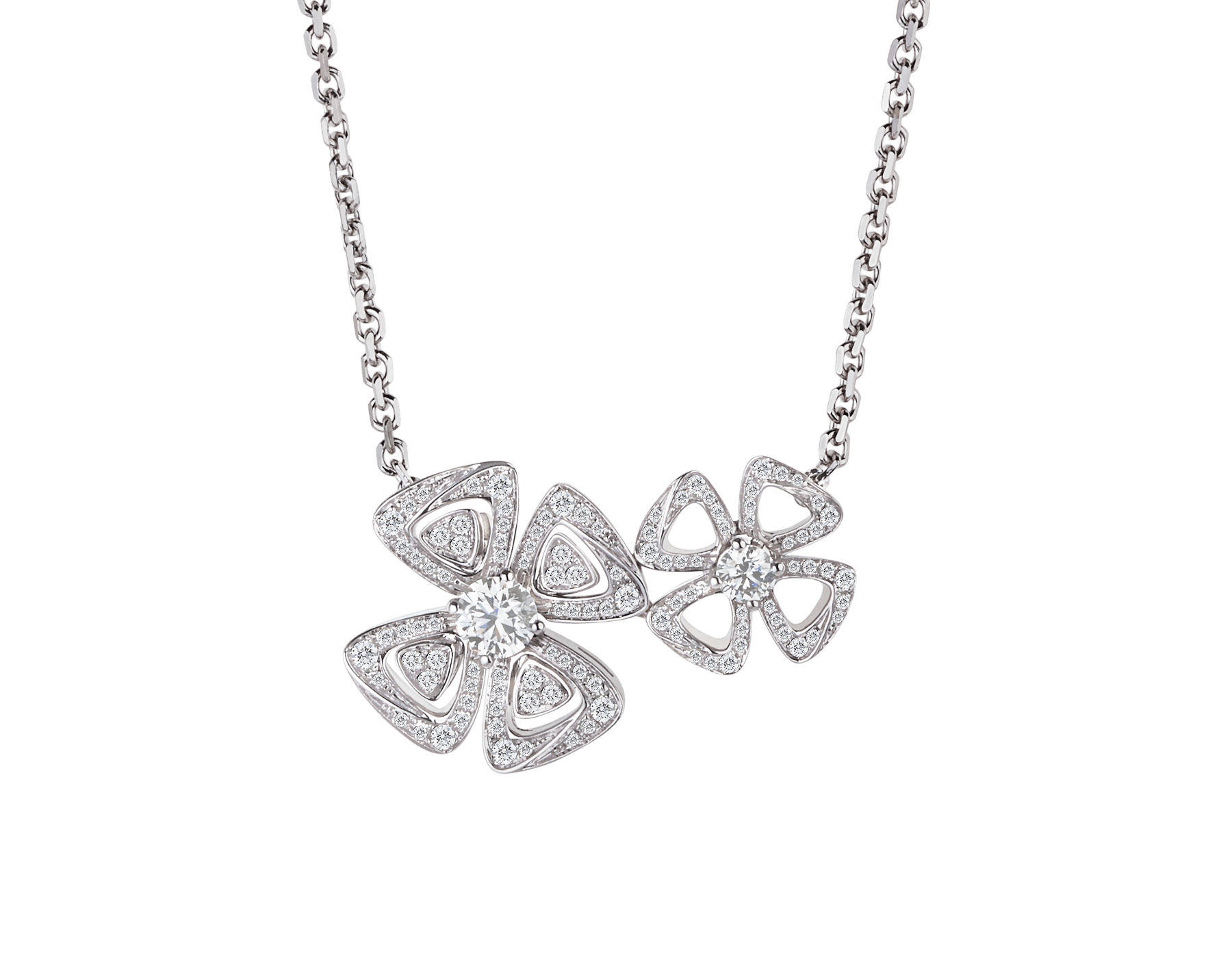 Fiorever two-flowers 18 kt white gold necklace set with two central diamonds (0.30 ct and 0.10 ct) and pavé diamonds (0.31 ct) 354498 image 1