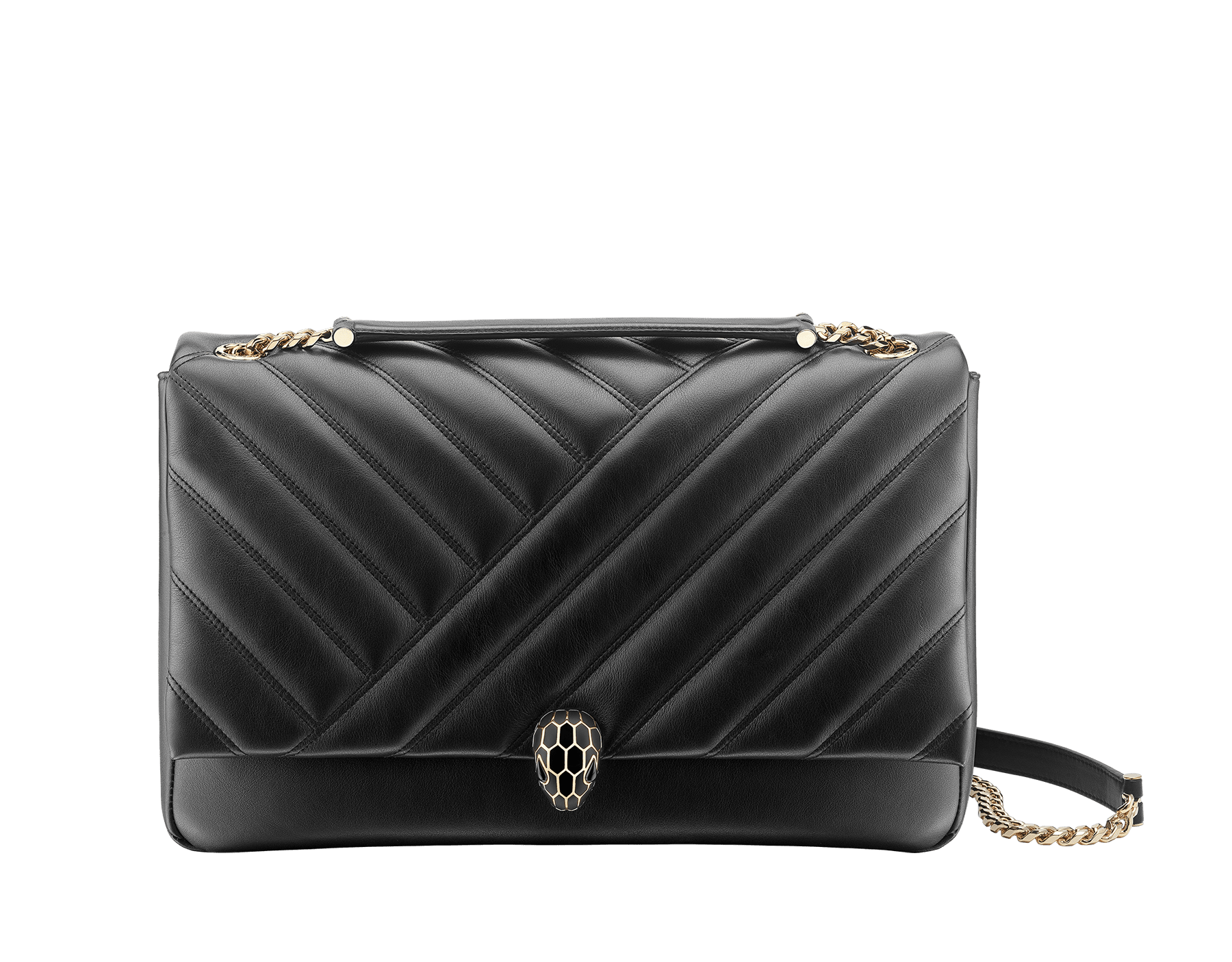 Serpenti Cabochon shoulder bag in soft matelassé black nappa leather with graphic motif and black calf leather. Snakehead closure in rose gold plated brass decorated with matte black and shiny black enamel, and black onyx eyes. 982-NSM image 1