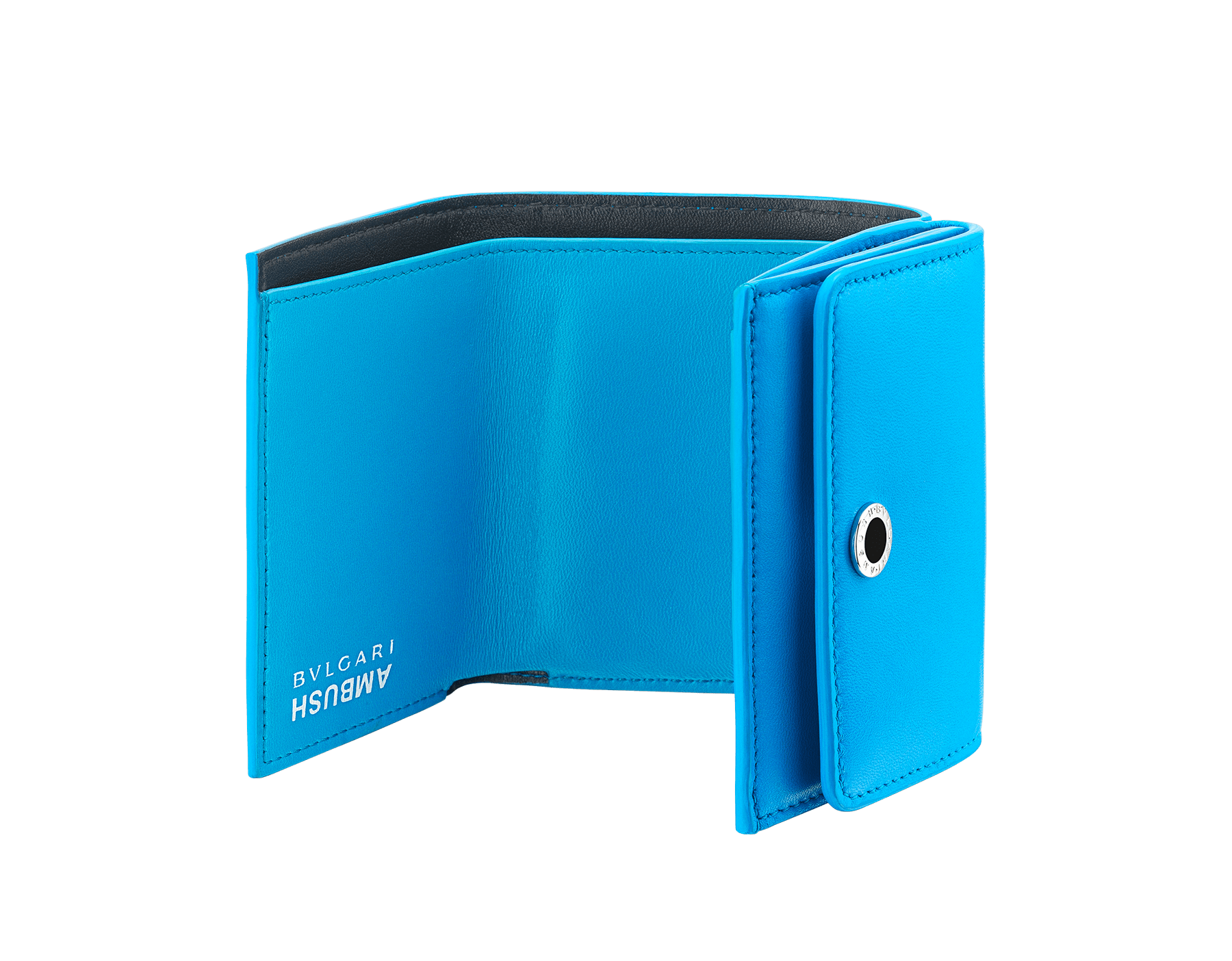 """Ambush x Bvlgari"" mini compact wallet in bright blue nappa leather. Palladium plated brass ""BVLGARI AMBUSH"" décor enameled in black on one side and special ""BVLGARI AMBUSH"" logo print on the other. Limited edition. YA-MINICOMPACT image 2"