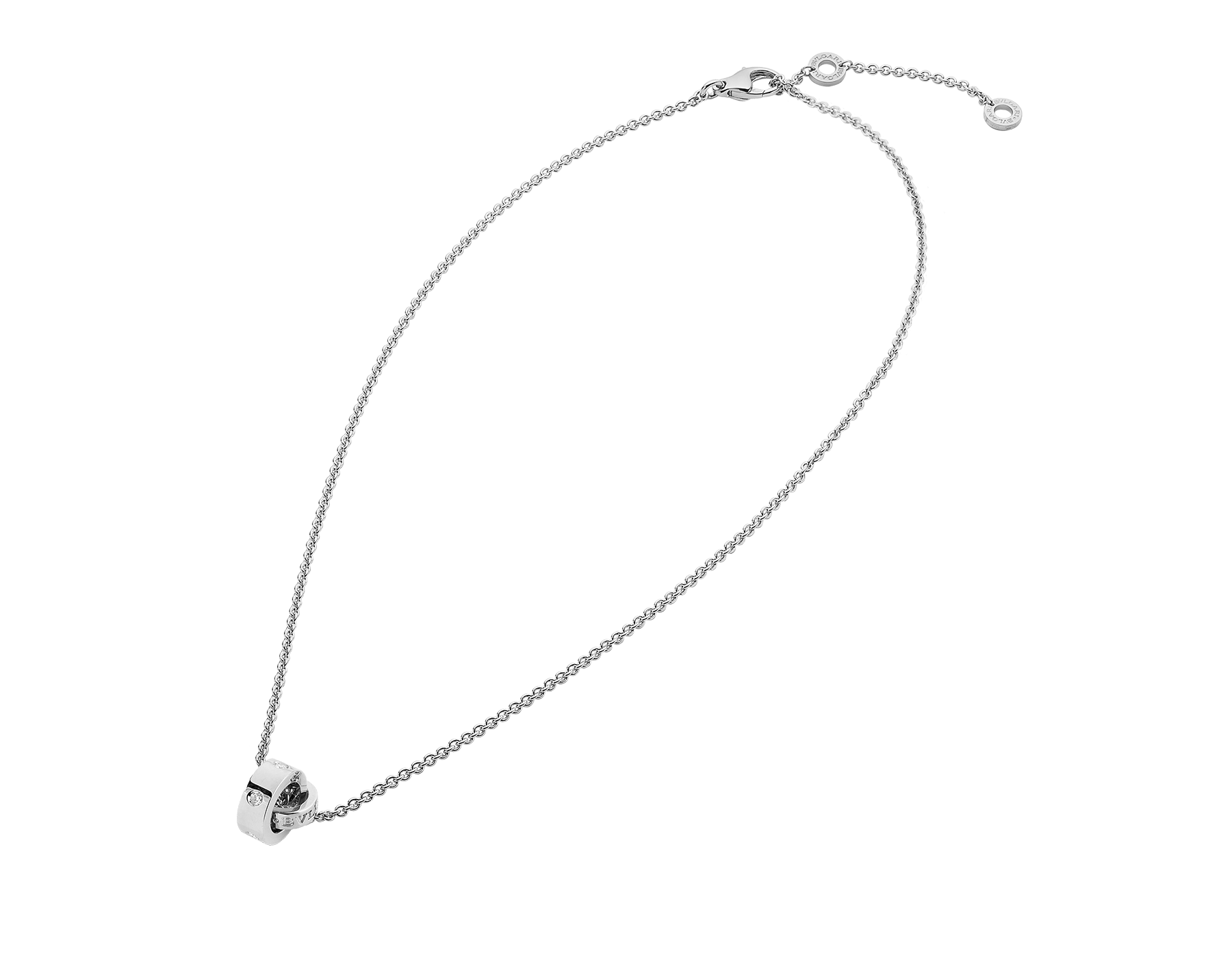 BVLGARI BVLGARI necklace with 18 kt white gold chain and 18 kt white gold pendant set with five diamonds (0.15 ct) 354029 image 2