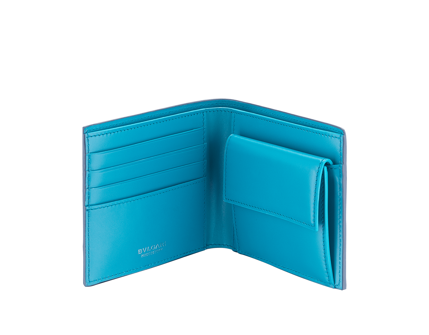 """""""BVLGARI BVLGARI"""" compact wallet in mimetic jade soft full grain calf leather and fire amber calf leather. Iconic logo decoration in palladium plated brass coloured in fire amber enamel. BBM-WLT-ITAL-sgcl image 2"""