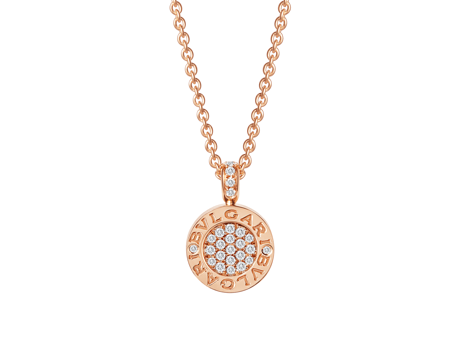 BVLGARI BVLGARI necklace with 18 kt rose gold chain and 18 rose gold pendant set with green jade and pavé diamonds 357256 image 2