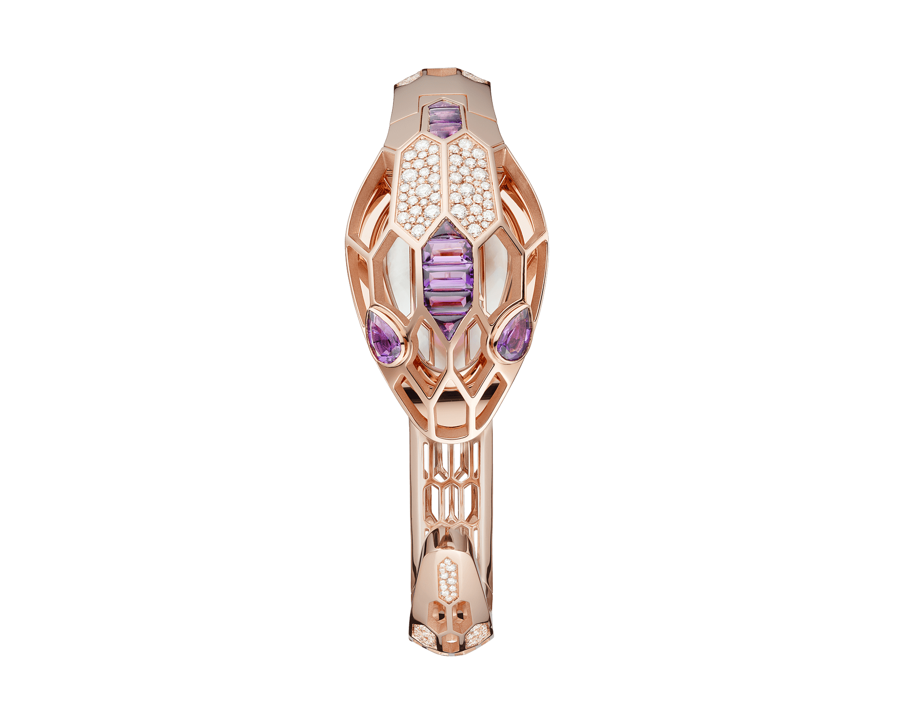 Serpenti Misteriosi Secret Watch in 18 kt rose gold case and bracelet both set with round brilliant-cut diamonds and baguette-cut amethysts, mother-of-pearl dial and pear shaped amethyst eyes. Medium size 103056 image 2