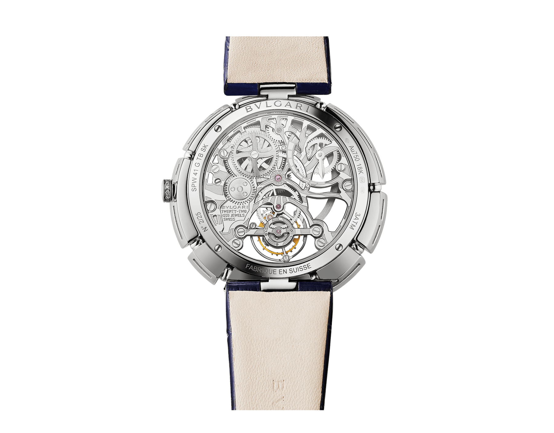 Serpenti Incantati Tourbillon watch with manufacture mechanical skeletonized movement, manual winding, 18 kt white gold case set with brilliant cut diamonds and a tanzanite, transparent dial and blue alligator bracelet. 102723 image 4