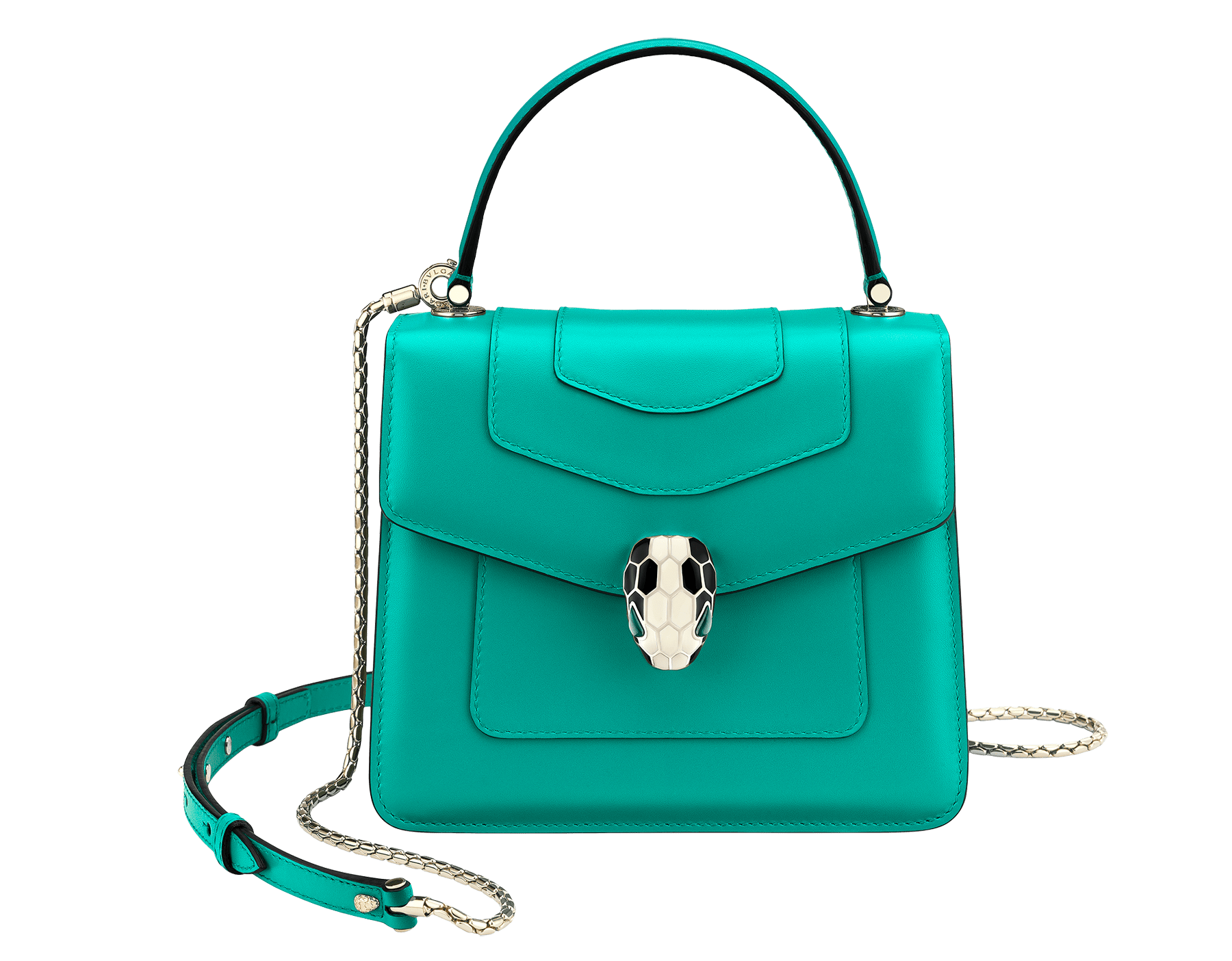 """Serpenti Forever "" crossbody bag in cobalt tourmaline calf leather. Iconic snakehead closure in light gold plated brass enriched with black and white enamel and green malachite eyes 752-CLd image 1"