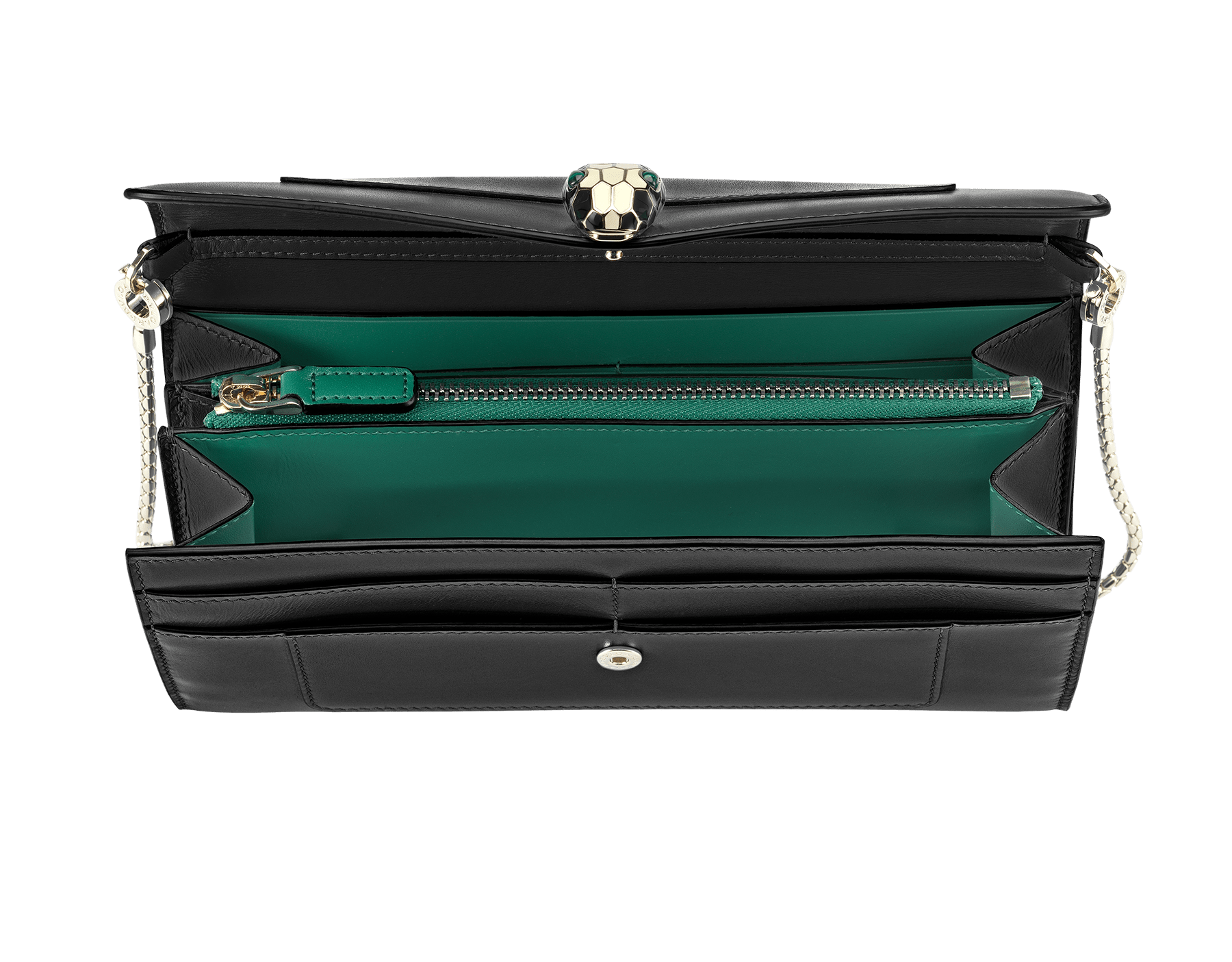 Wallet pouch in black and emerald green calf leather, with malachite nappa lining. Brass light gold plated hardware and removable snake body shaped short chain. 280467 image 2