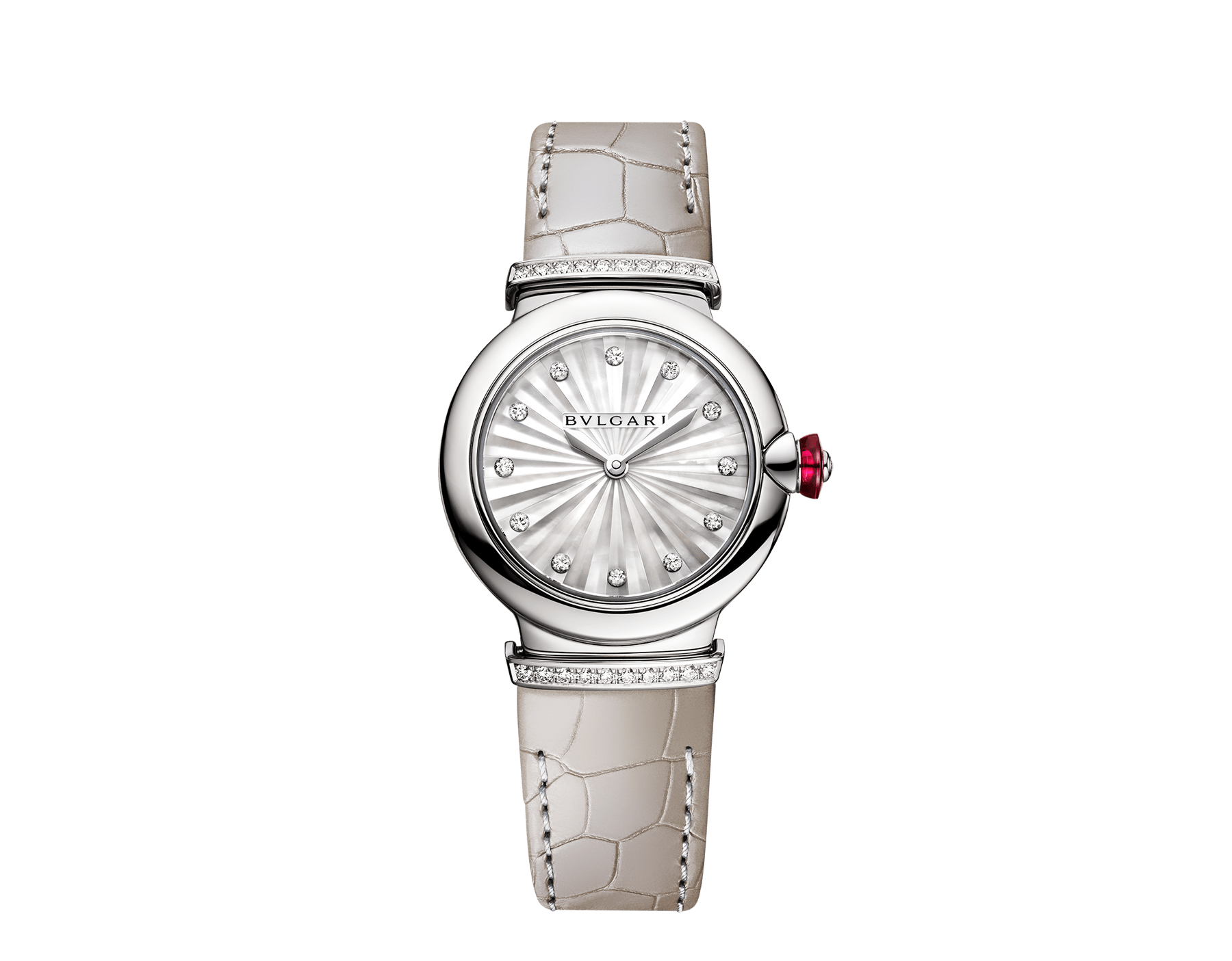 Montre LVCEA avec boîtier en acier inoxydable, cadran avec marqueterie Intarsio de nacre blanche, index sertis de diamants, maillons en acier inoxydable sertis de diamants et bracelet en alligator gris. 103367 image 1