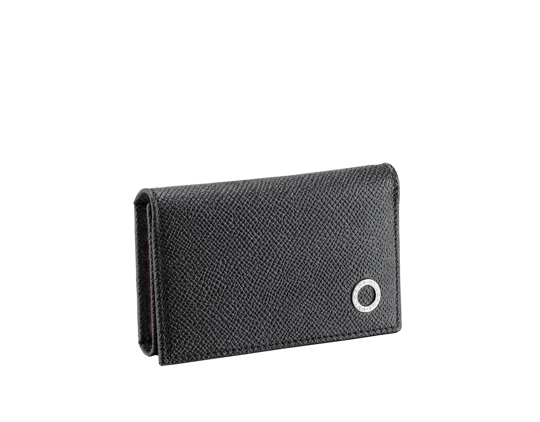 Small keyholder in black and ruby red grain calf leather with brass palladium plated hardware featuring the BVLGARI BVLGARI motif. 288305 image 1