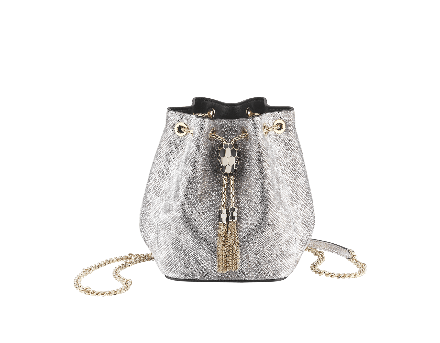 """Serpenti Forever"" micro bucket in white agate metallic karung skin and black nappa internal lining. Hardware in light gold plated brass and snakehead closure in black and white agate enamel, with eyes in black onyx. 289952 image 1"