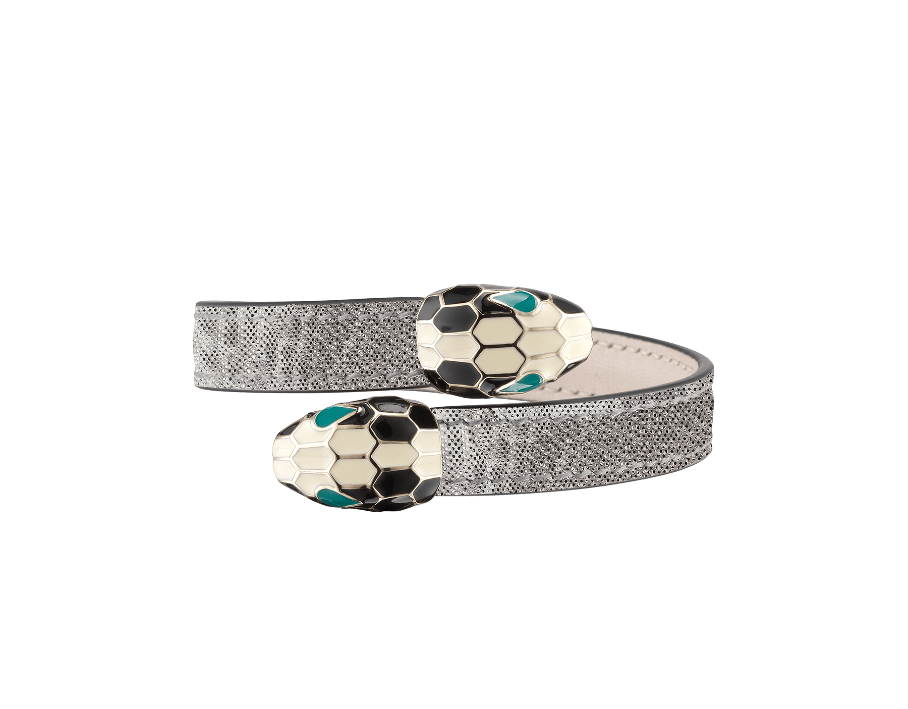 Serpenti Forever soft bangle bracelet in silver metallic karung skin, with brass light gold plated hardware. Iconic contraire snakehead décor in black and white enamel, with green enamel eyes. SerpSoftContr-MK-S image 1