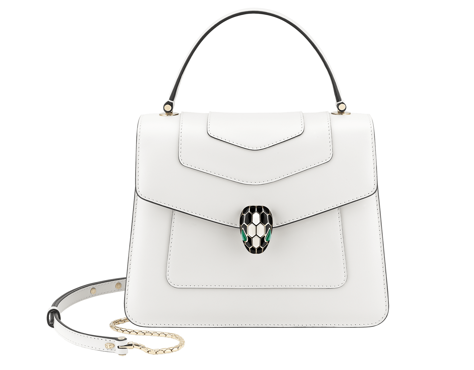 """Serpenti Forever"" top handle bag in daisy topaz calf leather. Iconic snake head closure in light gold plated brass enriched with black and white enamel and green malachite eyes. 1050-CL image 1"