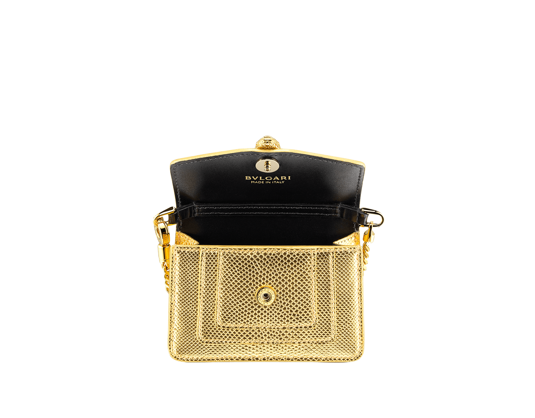 """Serpenti Forever"" mini bag in ""Molten"" gold karung skin and black calfskin, offering a touch of radiance for the Winter Holidays. New Serpenti head closure in gold-plated brass, complete with ruby-red enamel eyes. 290631 image 2"